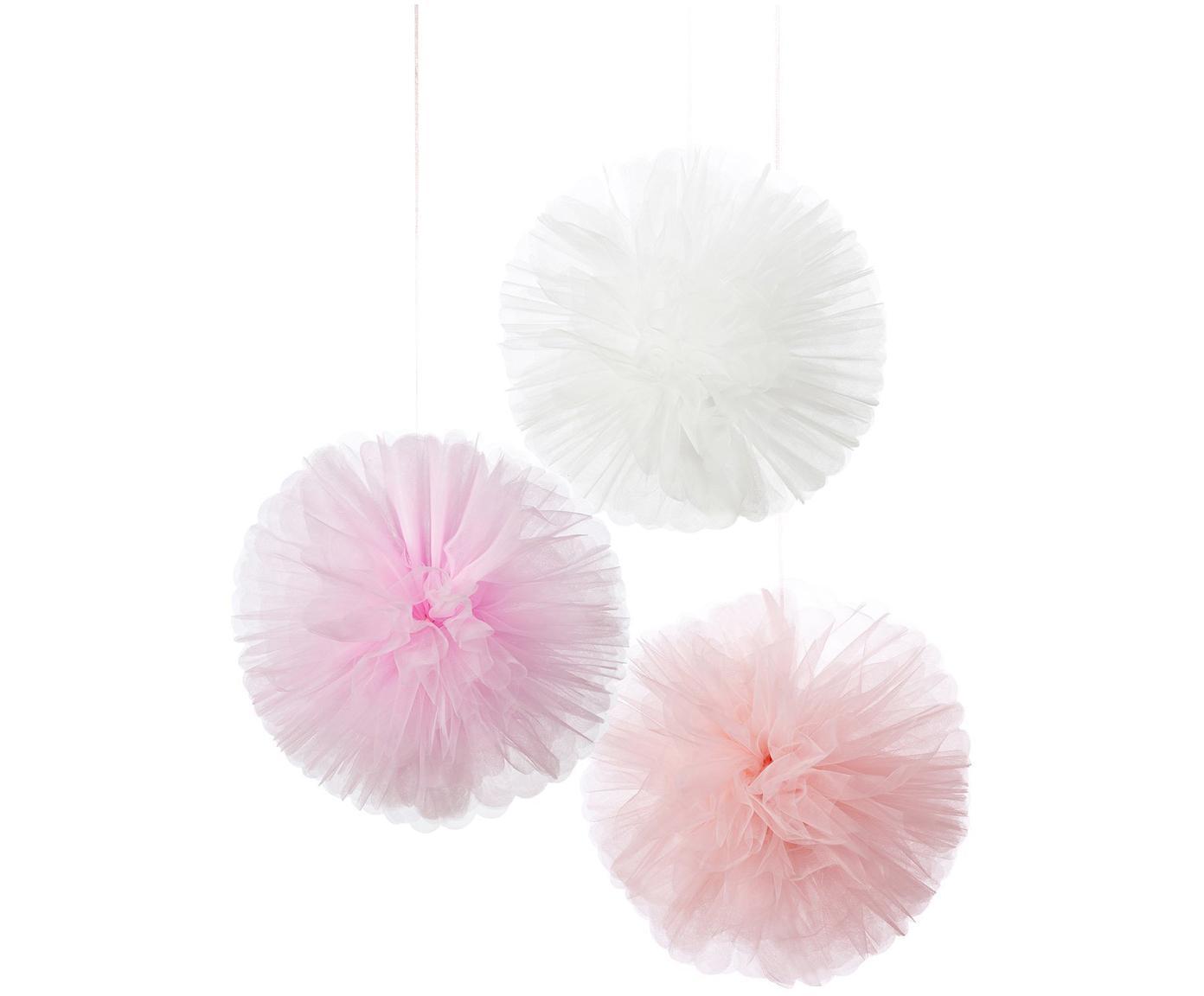 Pompons-Set We Heart, 3-tlg., Tüll (Polyester), Pink, Rosa, Weiß, Ø 25 x H 25 cm