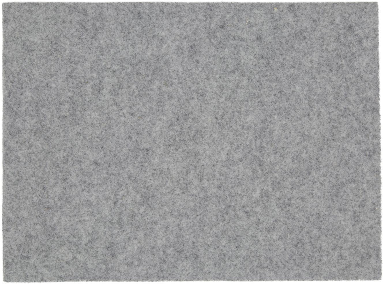 Vilt placemats Leandra, 4 stuks, 90% Wol, 10% Polyethyleen, Lichtgrijs, 33 x 45 cm