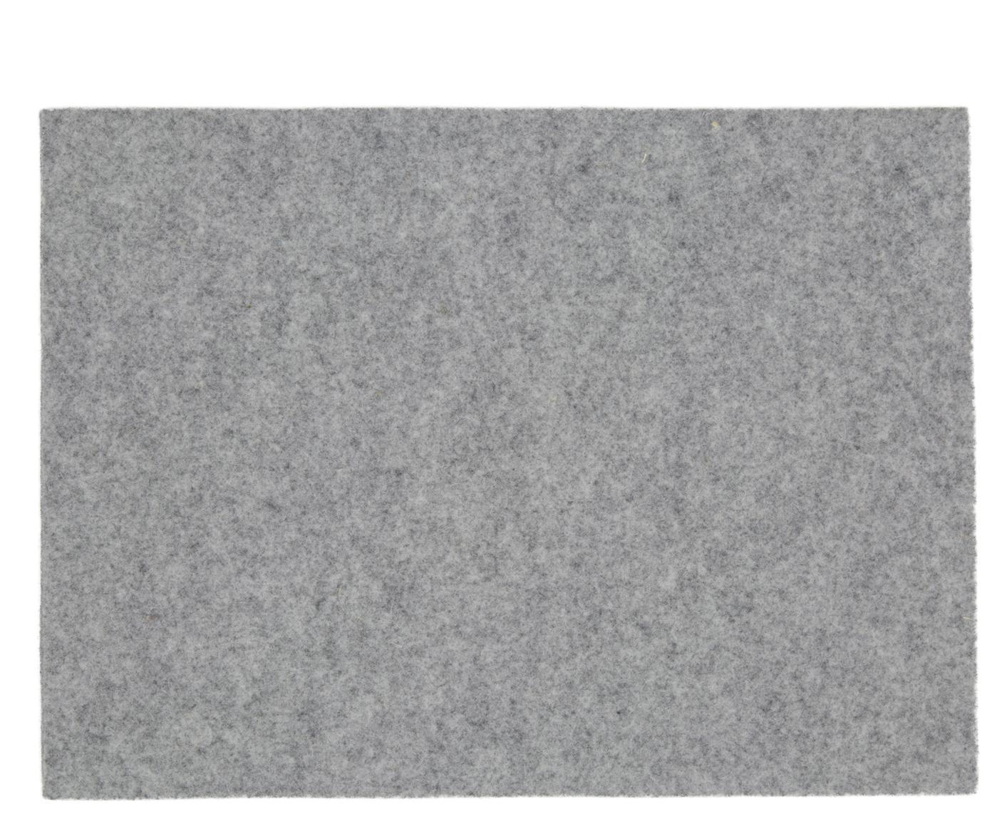 Manteles individuales de fieltro de lana Leandra, 4uds., 90% lana, 10% polietileno, Gris claro, An 33 x L 45 cm