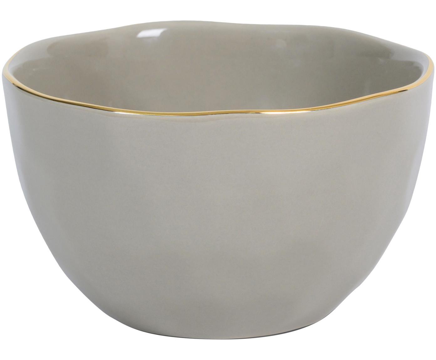 Schälchen Good Morning in Grau mit Goldrand, Porzellan, Grau, Goldfarben, Ø 14 cm