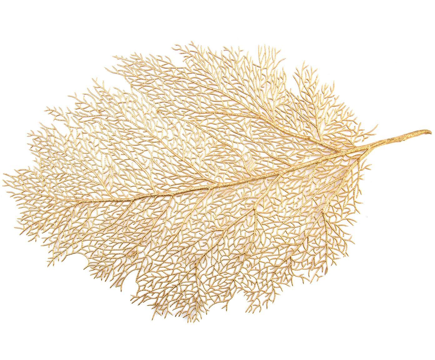Goldenes Tischset Leaf in Blattform, Kunststoff, Goldfarben, 40 x 57 cm