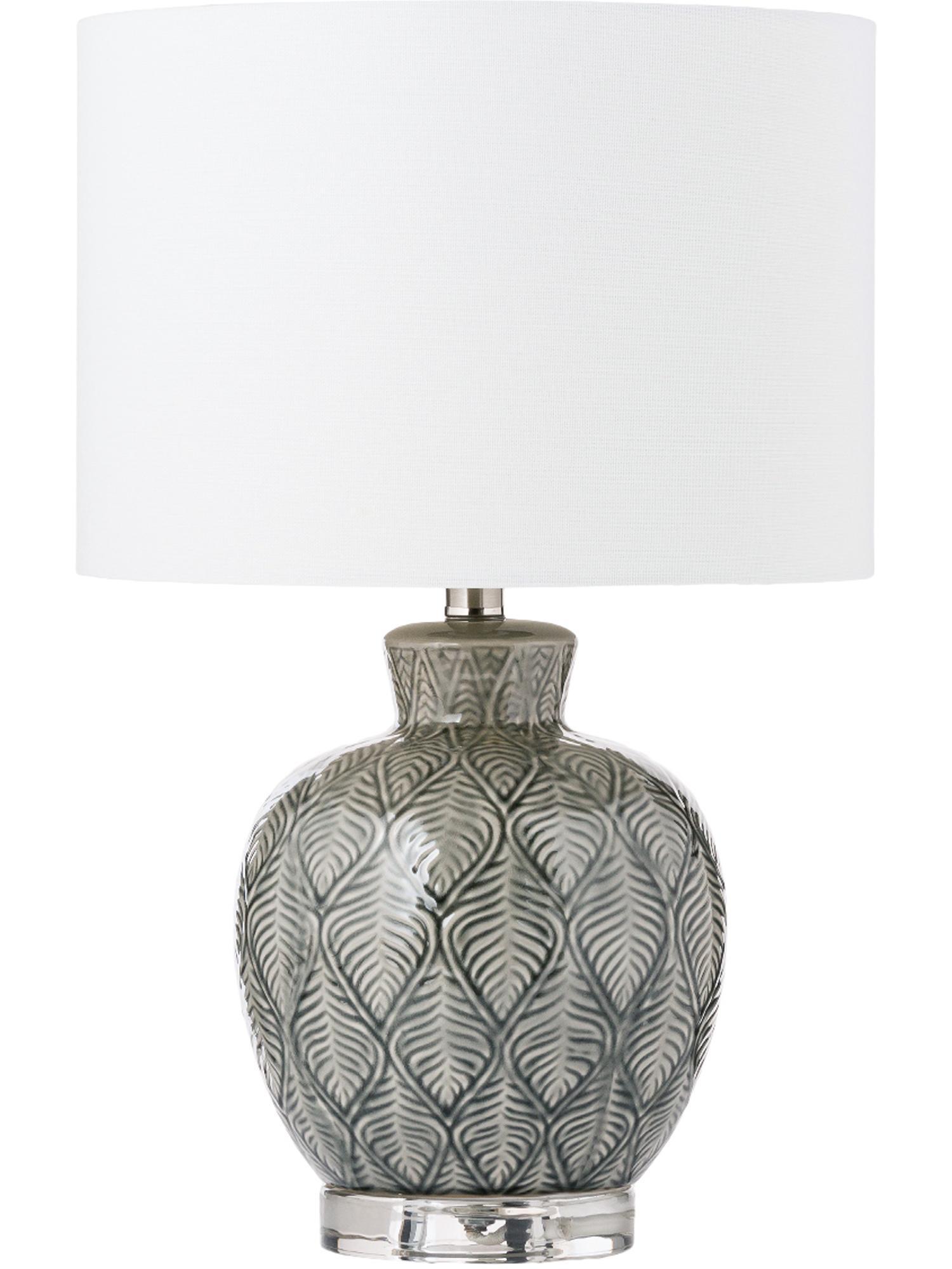 Lámpara de mesa Brooklyn, Pantalla: tela, Base: transparente Base de la lámpara: gris Pantalla: crema Cable: transparente, Ø 33 x Al 53 cm
