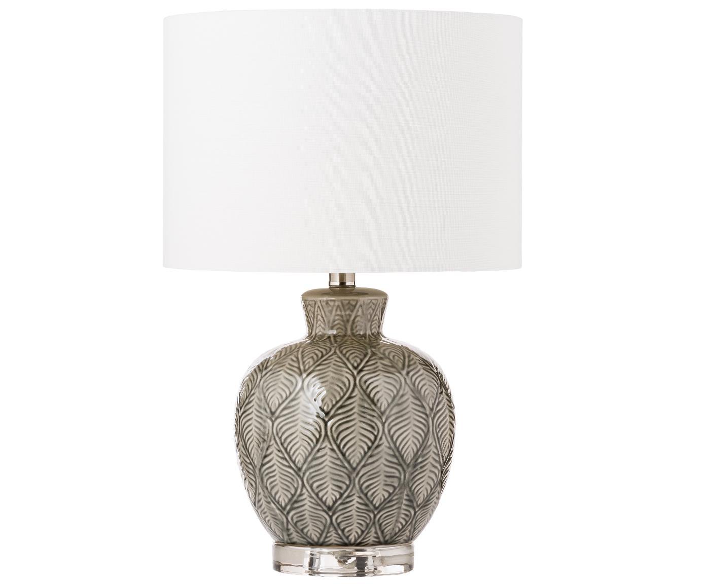Keramik-Tischlampe Brooklyn im Boho-Style, Lampenschirm: Textil, Lampenfuß: Keramik, Sockel: Kristallglas, Weiß, Grau, Ø 33 x H 53 cm