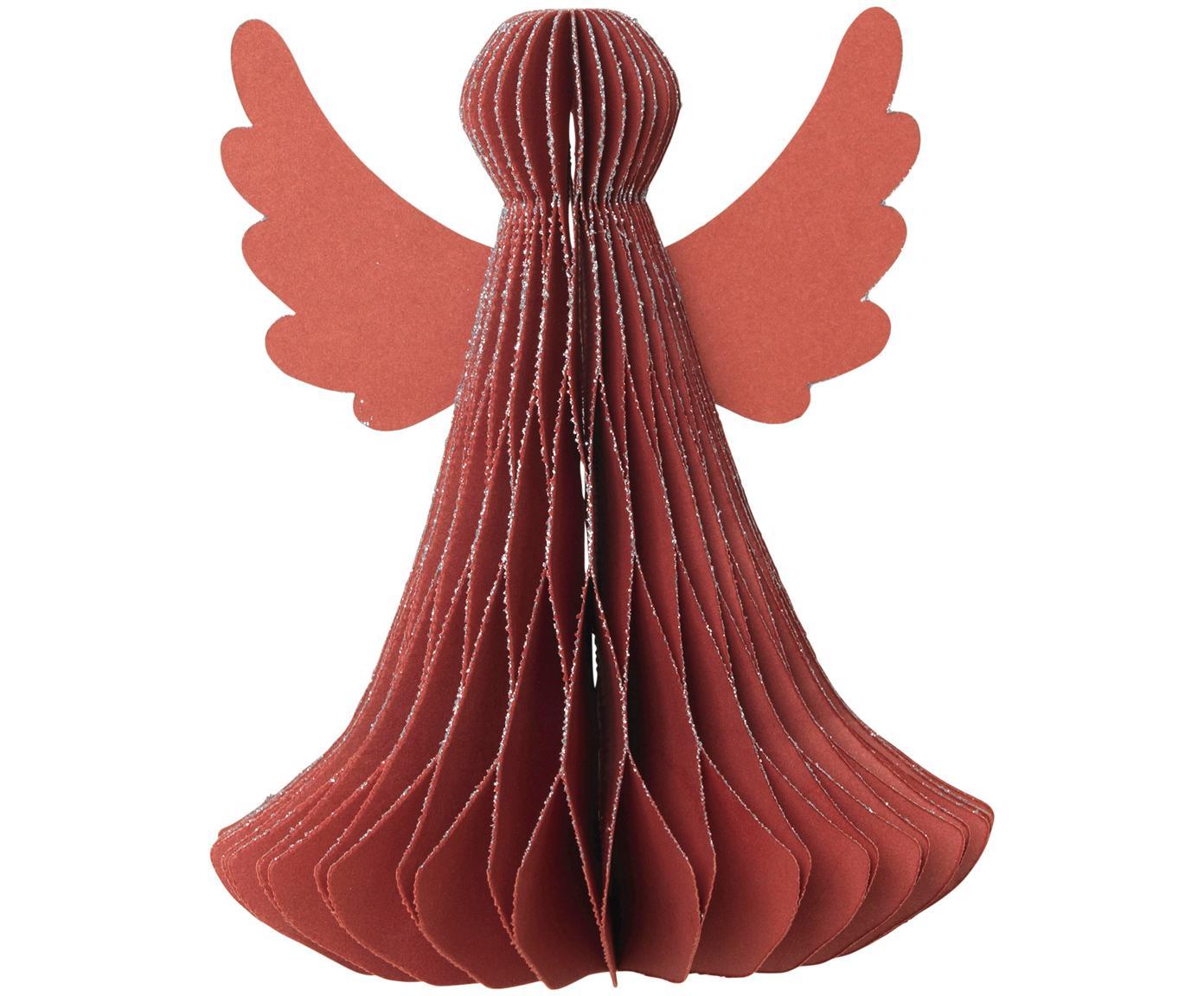 Decoratieve objecten Angel, 2 stuks, Papier, Rood, Ø 10 x H 13 cm