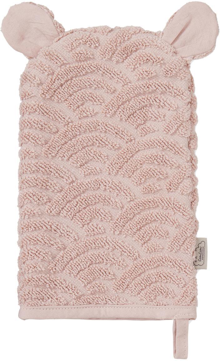 Washandje Wave, Organisch katoen, Roze, 15 x 22 cm