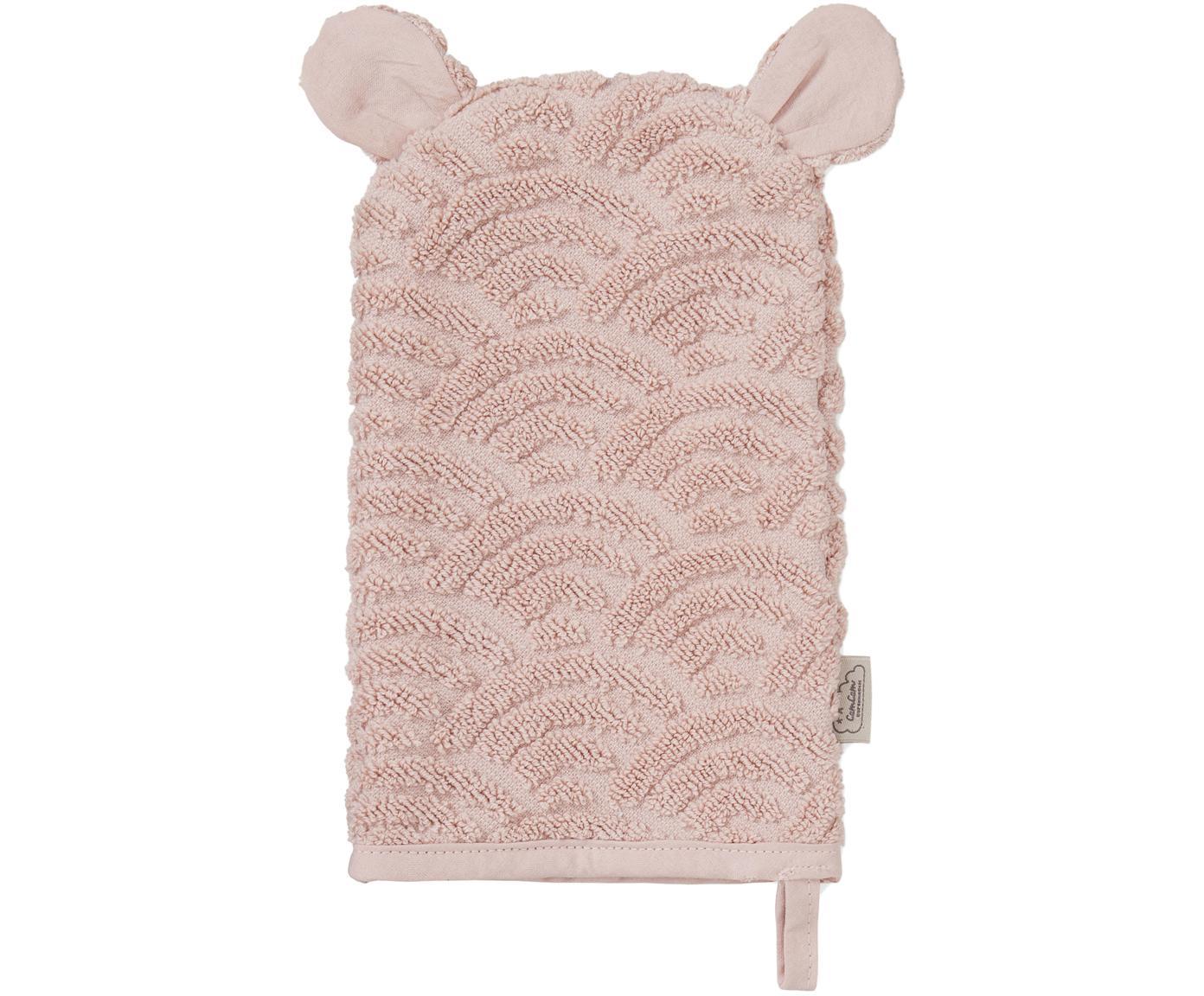 Manopla de baño de algodón ecológico Wave, Algodón orgánico, Rosa, An 15 x L 22 cm