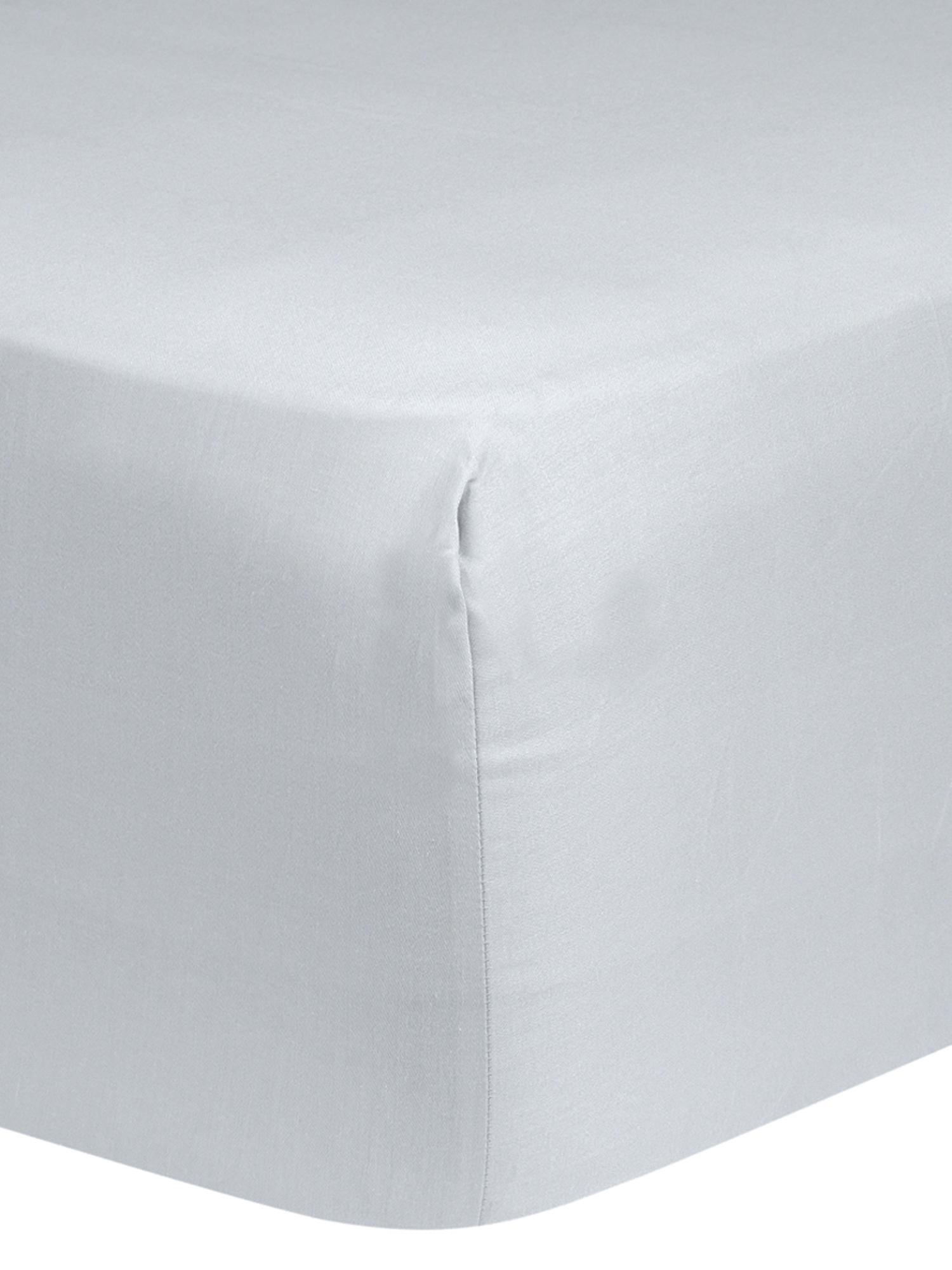 Spannbettlaken Comfort, Baumwollsatin, Webart: Satin, leicht glänzend, Hellgrau, 180 x 200 cm