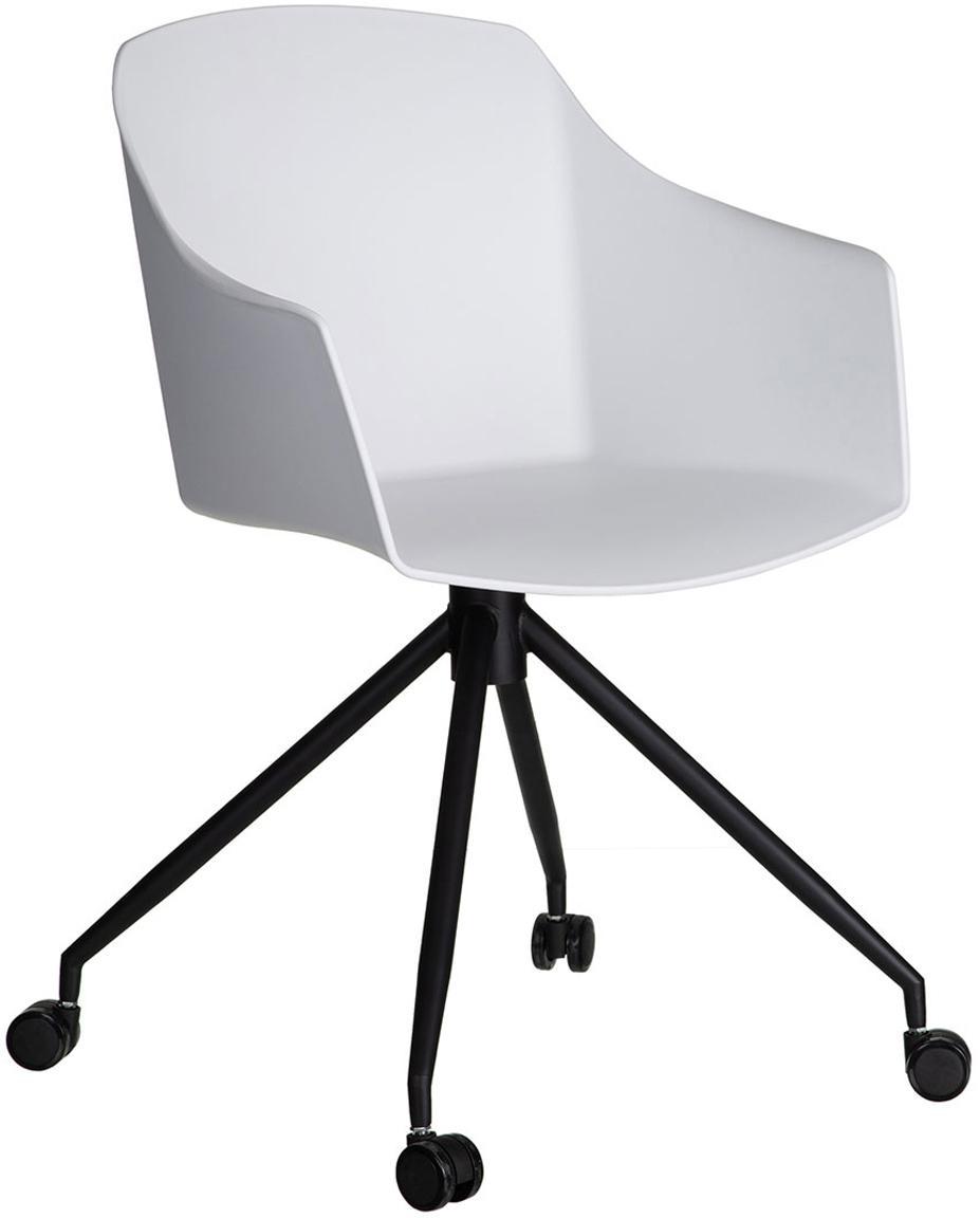 Silla giratoria de oficina Gero, Asiento: plástico, Patas: metal, Blanco, negro, An 54 x Al 81 cm