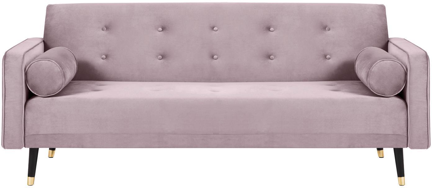 Sofa rozkładana z aksamitu Gia (3-osobowa), Tapicerka: aksamit poliestrowy, Nogi: drewno bukowe, lakierowan, Lawendowy, S 212 x G 93 cm