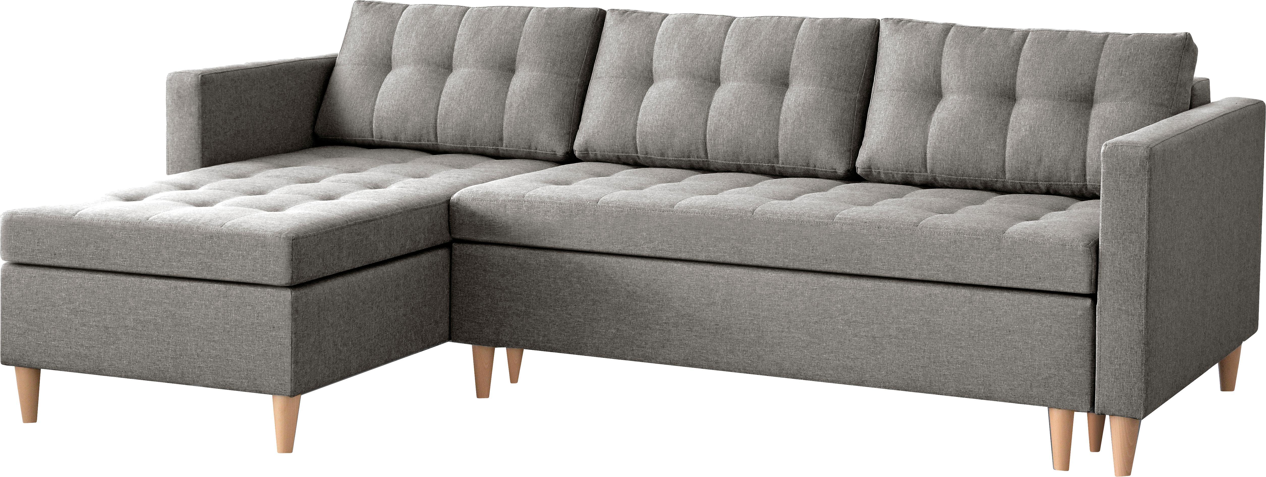 Hoekbank Fandy met slaapfunctie, Bekleding: polyester, Lichtgrijs, B 223 x D 69 cm
