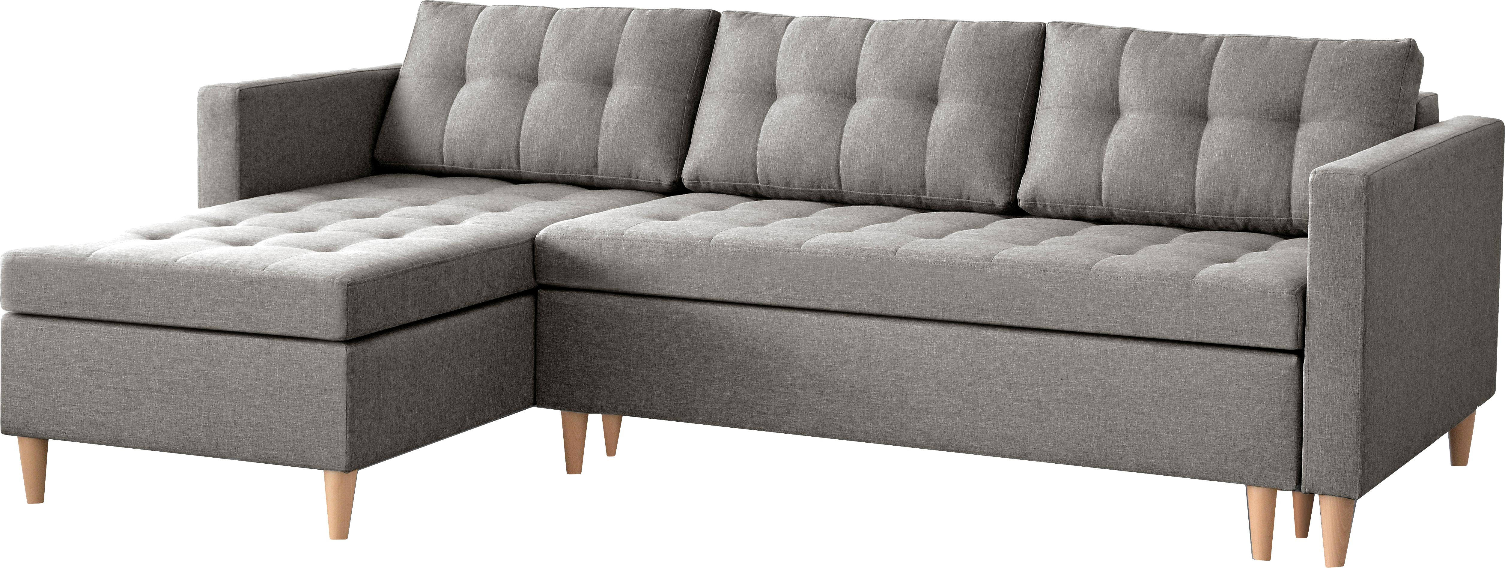 Sofá cama rinconero Fandy, Tapizado: poliéster 100.000ciclos , Estructura: madera maciza, aglomerado, Patas: madera de haya, Tejido gris claro, An 223 x F 69 cm