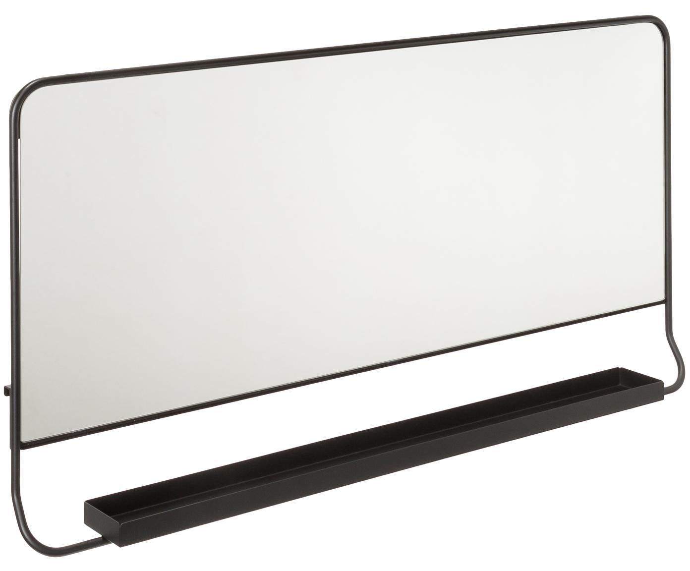 Espejo de pared rectangular Chic, con estante, Negro, An 80 x Al 40 cm