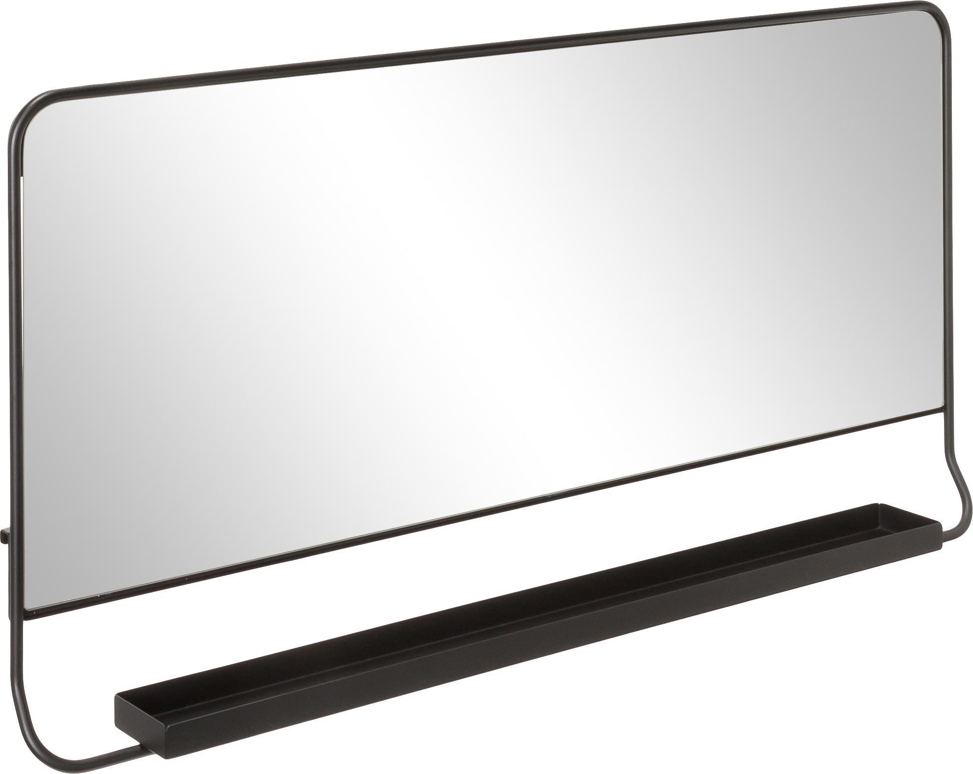 Rechthoekige wandspiegel Chic met plank, Zwart, spiegelglas, 80 x 40 cm