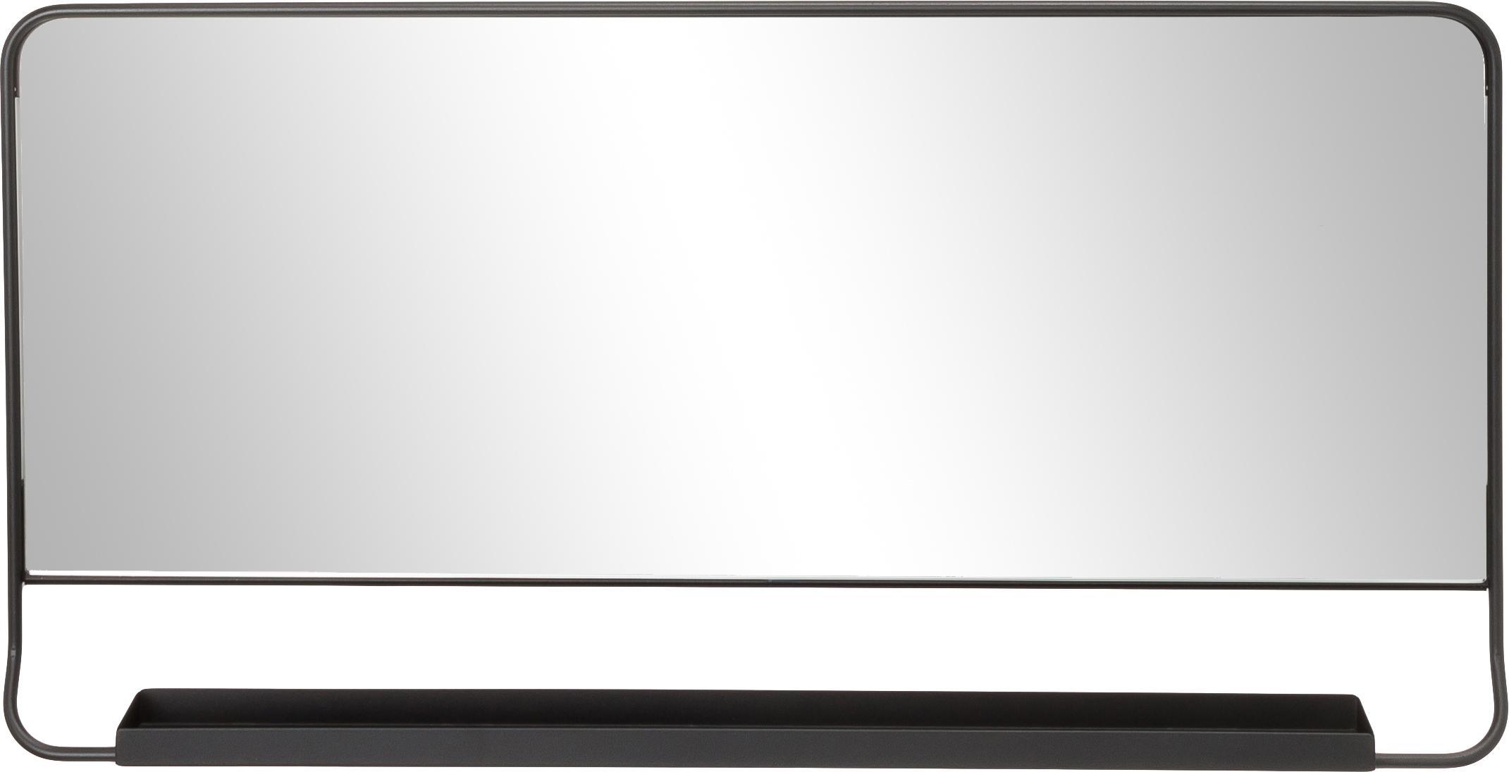 Eckiger Wandspiegel Chic mit Ablagefläche, Schwarz, 80 x 40 cm