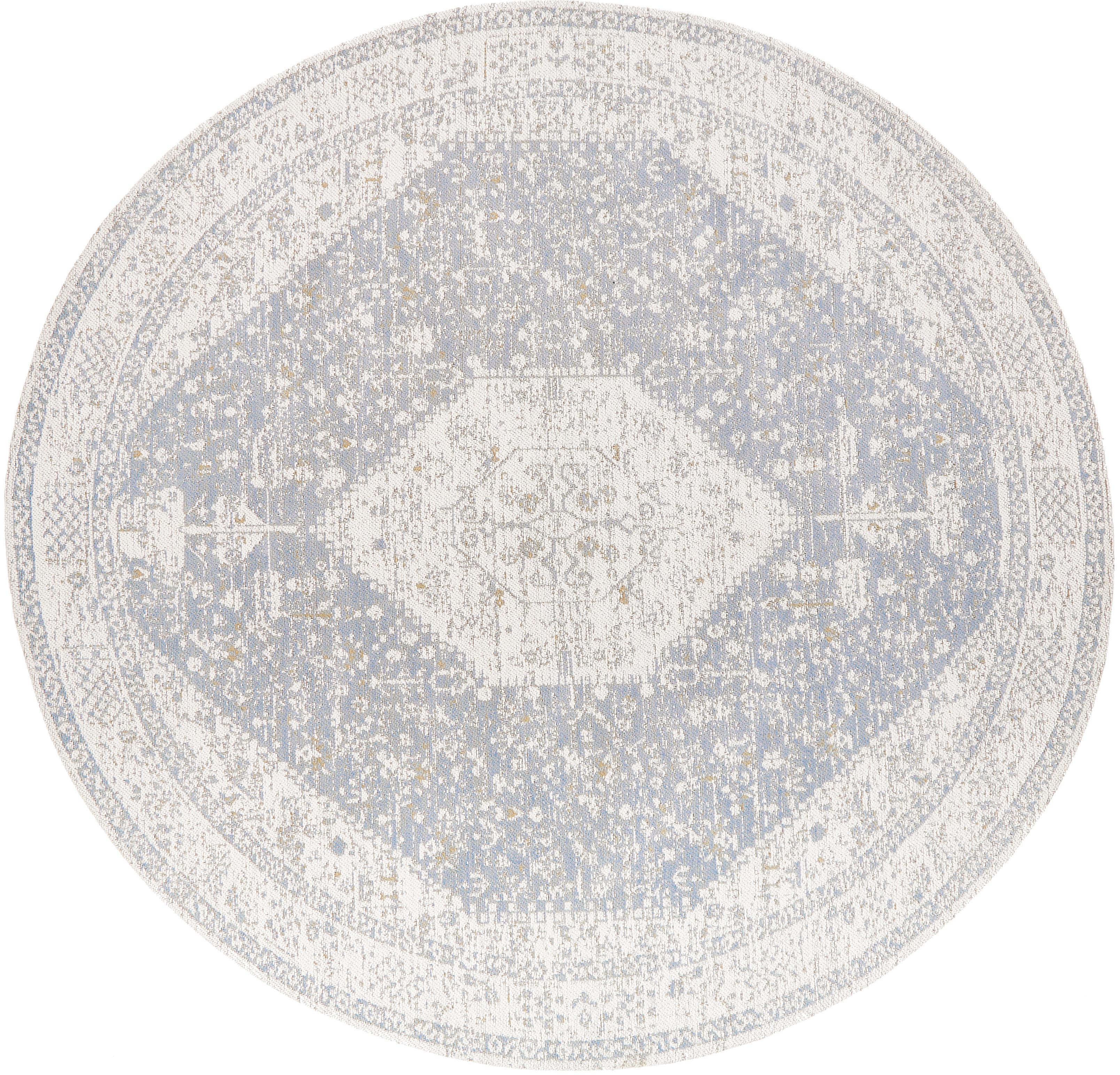 Runder Chenilleteppich Neapel im Vintage Style, handgewebt, Flor: 95% Baumwolle, 5% Polyest, Hellgrau, Creme, Taupe, Ø 150 cm (Grösse M)