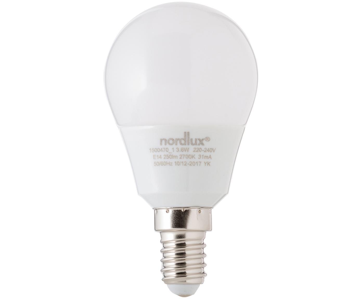Lampadina a LED Azer (E14 / 3,5Watt) 5 pz, Paralume: vetro opale, Base lampadina: alluminio, Bianco, Ø 5 x Alt. 9 cm