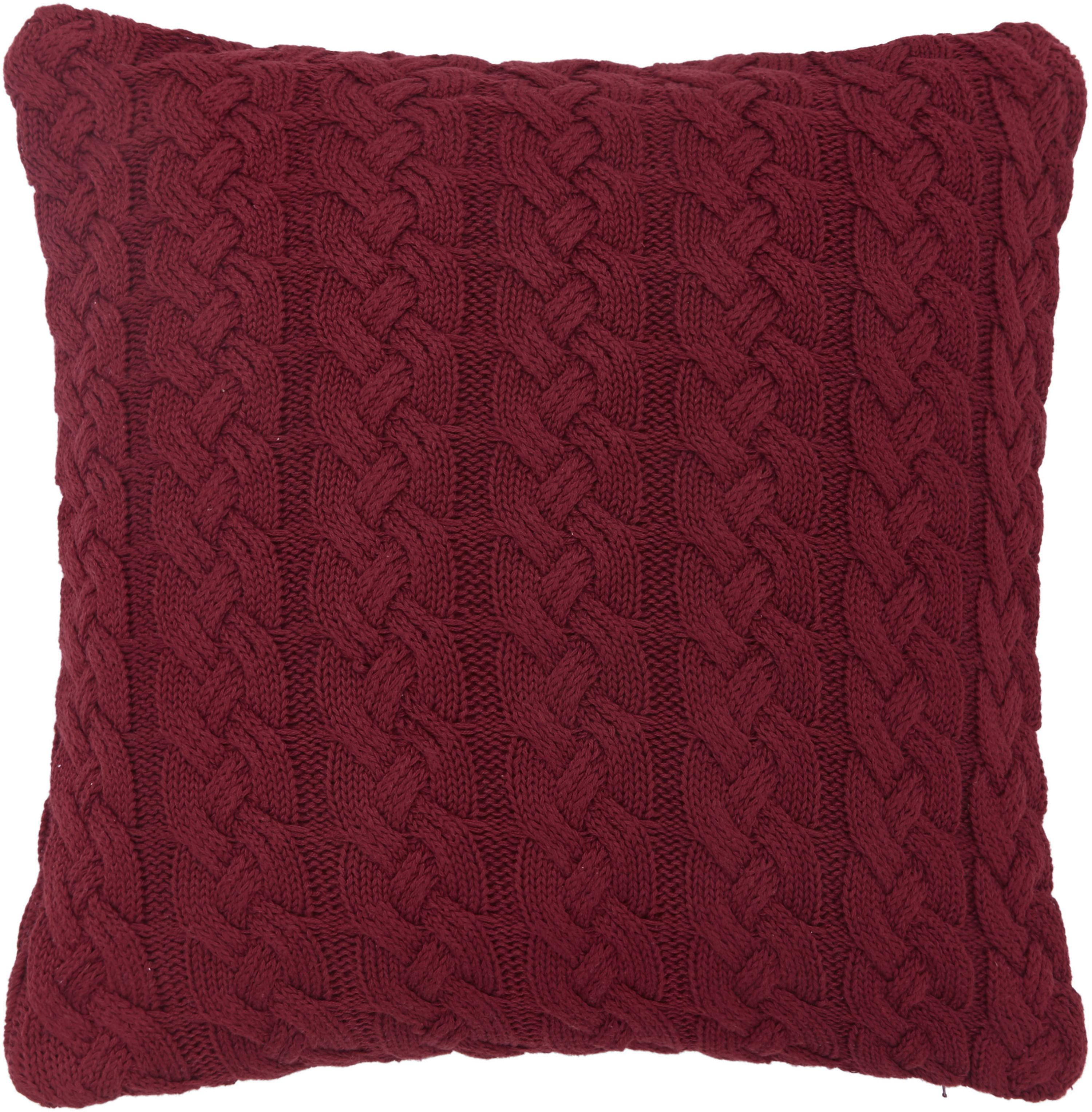 Federa arredo  fatta a maglia con motivo a trecce Caleb, 100% cotone, Rosso scuro, Larg. 40 x Lung. 40 cm