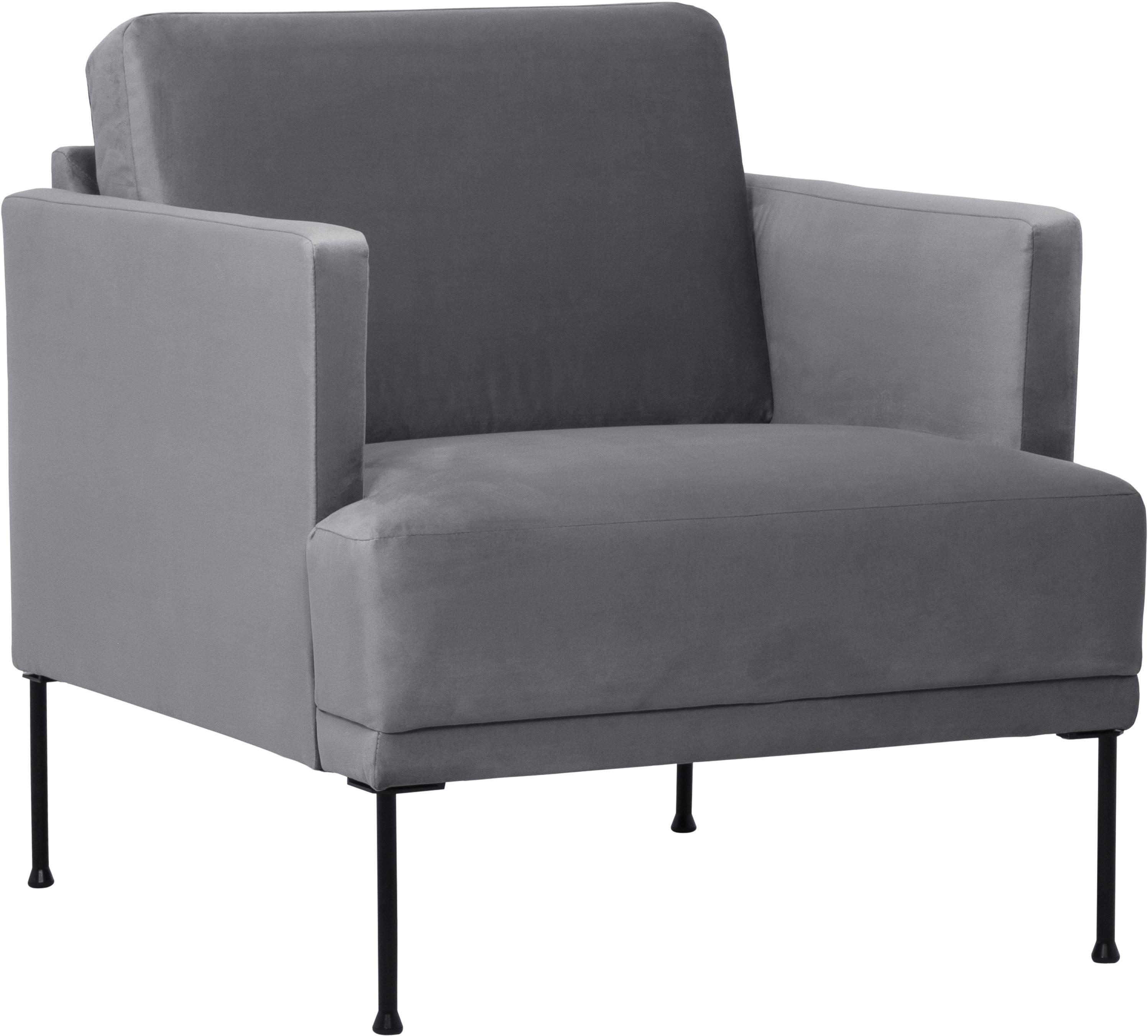 Fotel z aksamitu Fluente, Tapicerka: aksamit (wysokiej jakości, Stelaż: lite drewno sosnowe, Nogi: metal malowany proszkowo, Aksamitny szarobrązowy, S 74 x G 85 cm