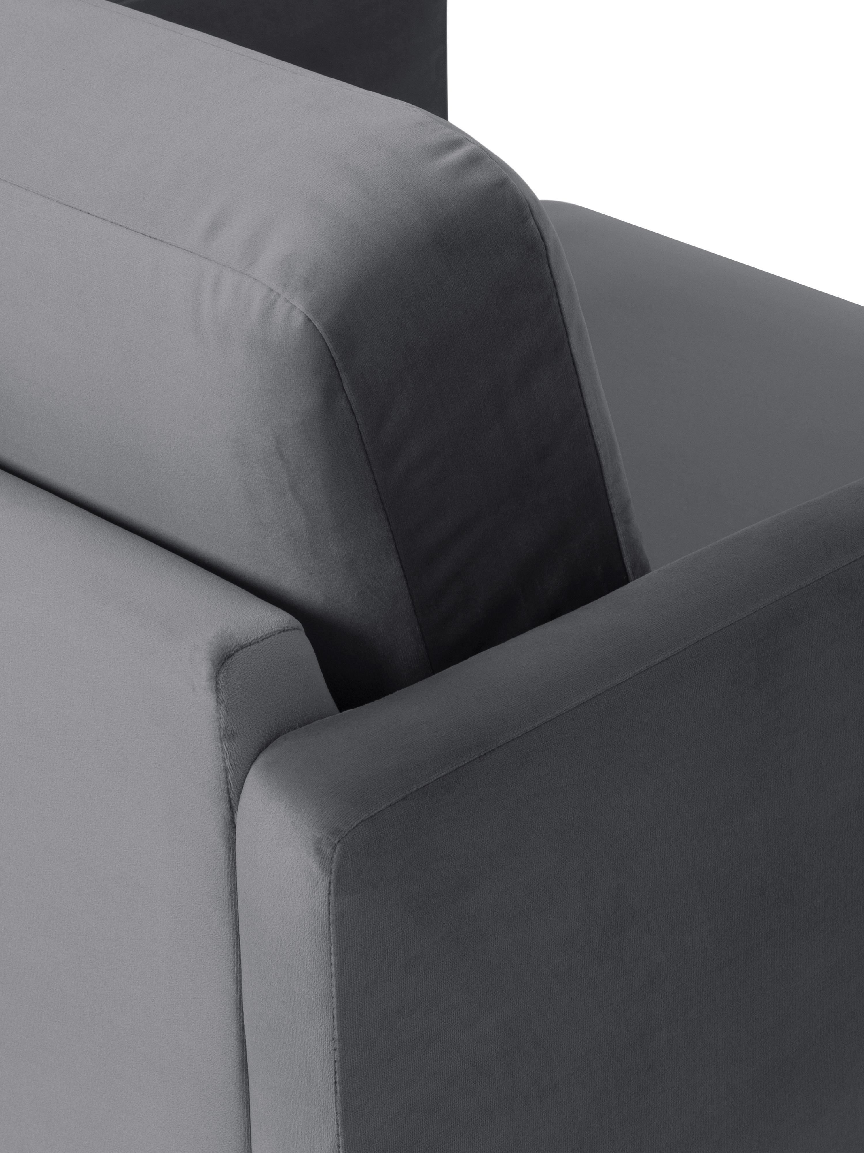 Samt-Sessel Fluente, Bezug: Samt (Hochwertiger Polyes, Gestell: Massives Kiefernholz, Füße: Metall, pulverbeschichtet, Samt Braungrau, B 74 x T 85 cm