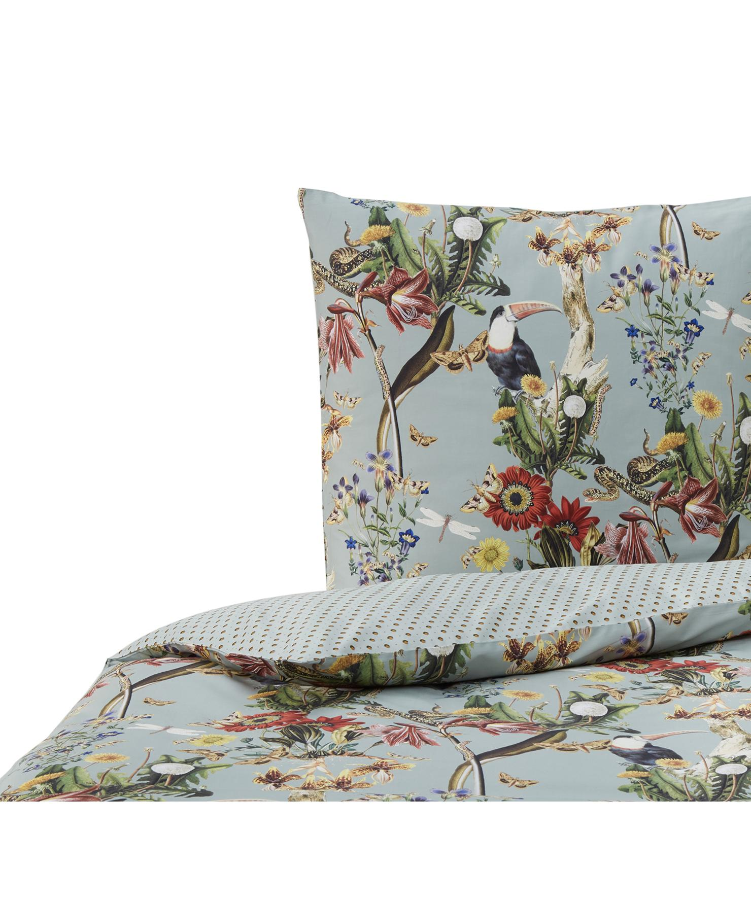 Dubbelzijdig katoensatijnen dekbedovertrek Airen, Weeftechniek: satijn, Grijsgroen, multicolour, 140 x 220 cm