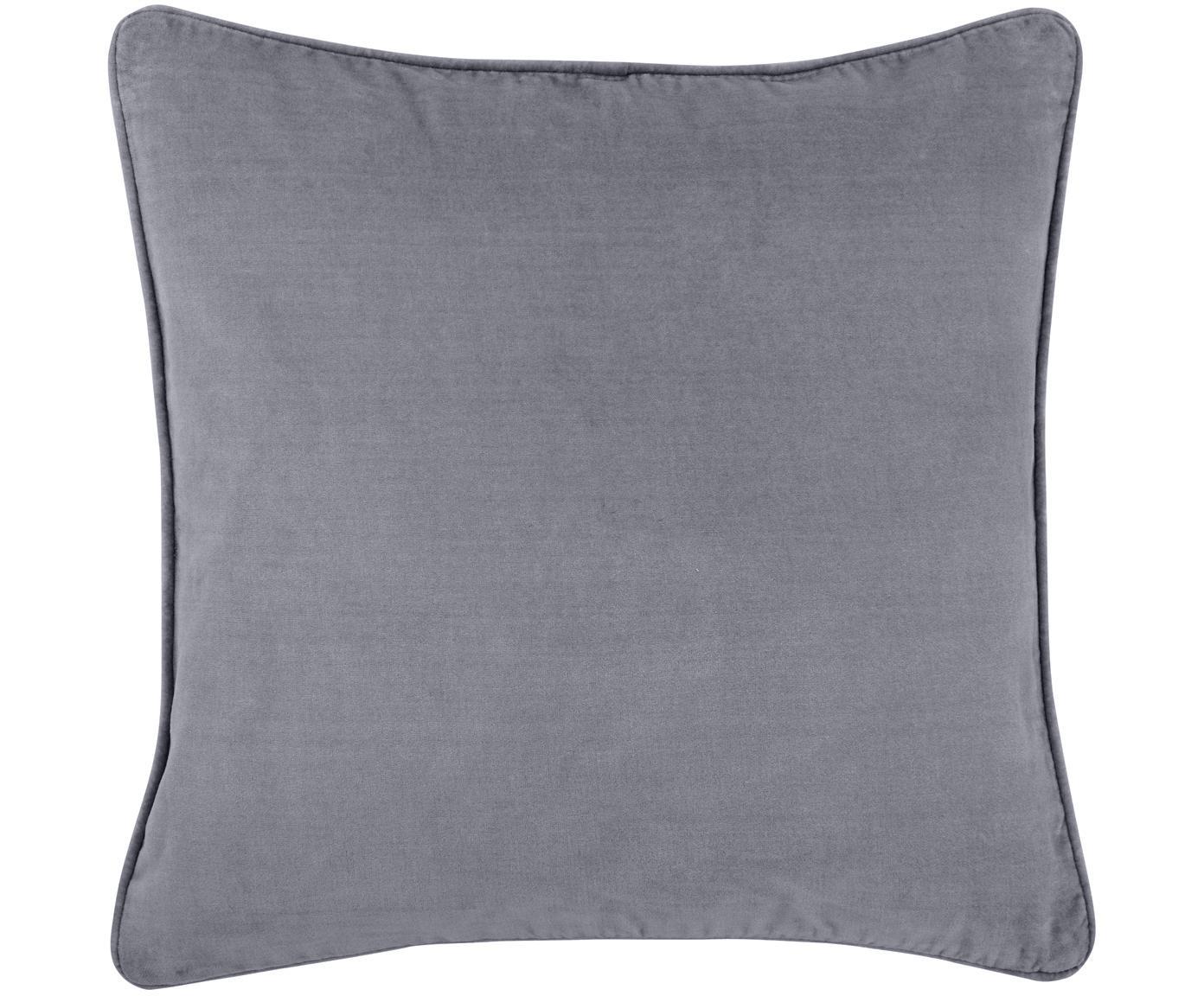 Funda de cojín de terciopelo Dana, Terciopelo de algodón, Gris oscuro, An 40 x L 40 cm