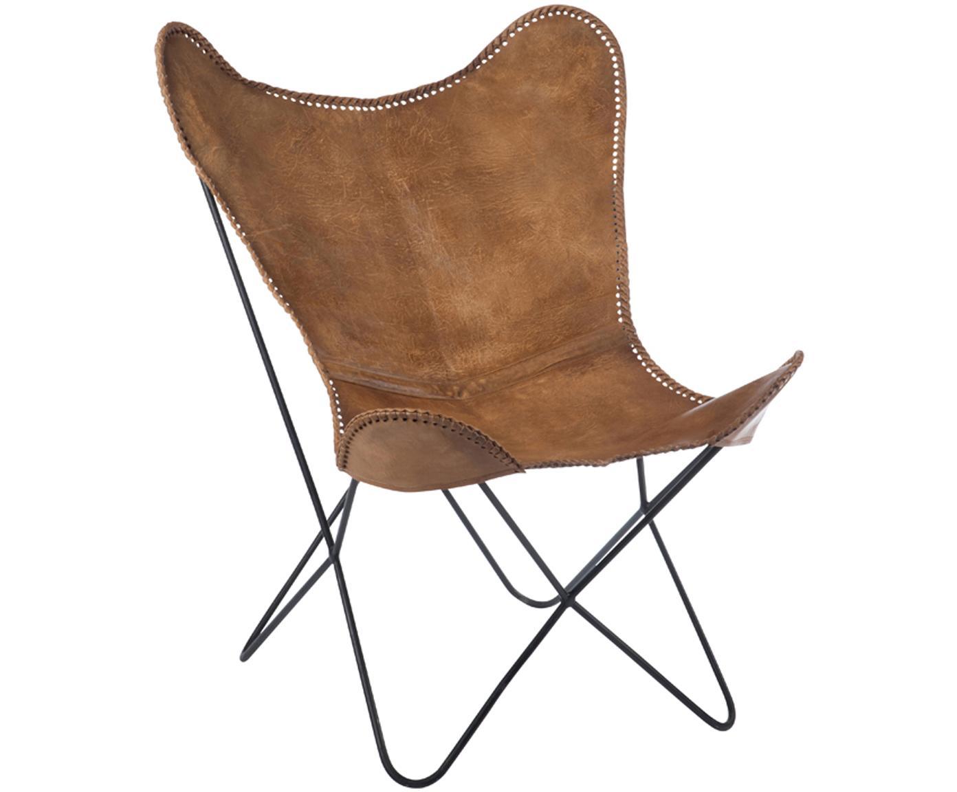 Butterfly fauteuil Brady van leer, Zitvlak: geitenleer, Frame: gelakt metaal, Bruin, B 67 x D 73 cm