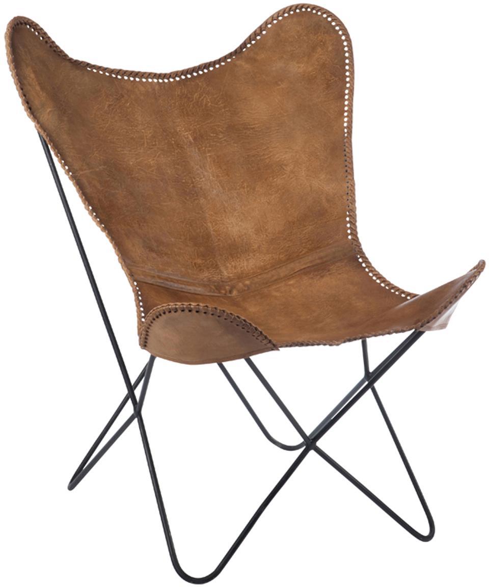 Fotel ze skóry Brady, Stelaż: metal lakierowany, Brązowy, S 67 x G 73 cm