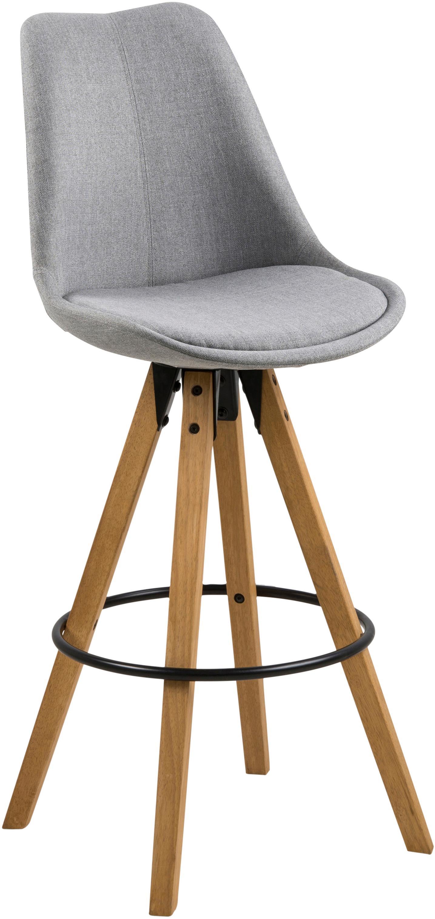 Barstühle Dima Textile, 2 Stück, Bezug: Polyester 25.000 Scheuert, Beine: Gummibaumholz, gebeizt, Hellgrau, Eichenholz, 49 x 112 cm