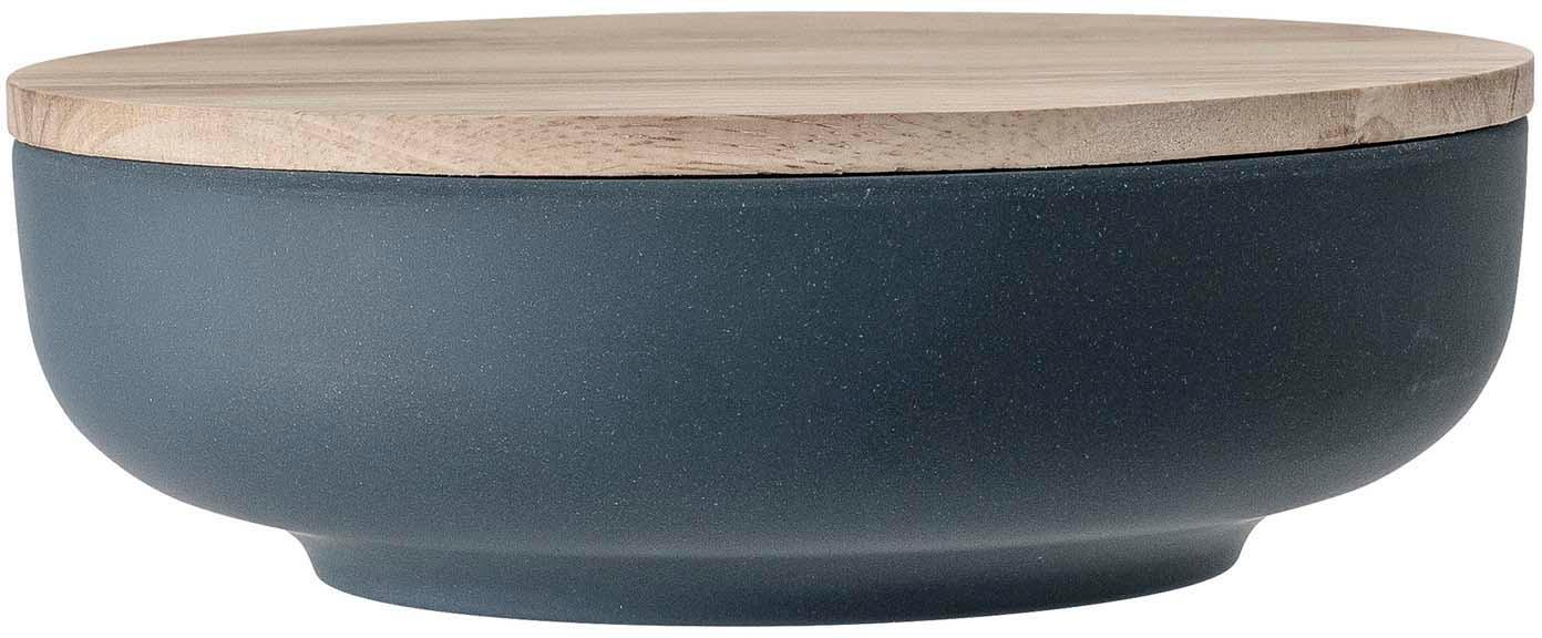 Opbergpot Java, Pot: 50% bamboevezels, 20% mel, Deksel: rubberhout, Blauw, beige, Ø 21 x H 7 cm