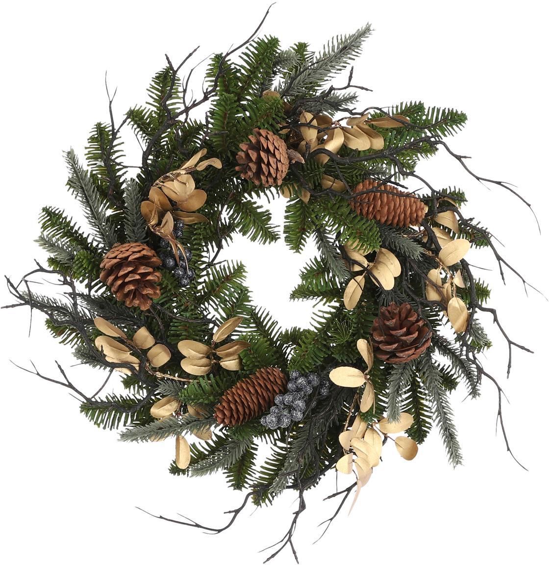 Künstlicher Weihnachtskranz Lodge, Kunststoff (PVC), Grün, Goldfarben, Ø 40 x H 10 cm