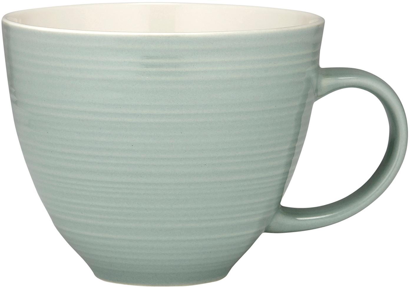 Tazas de café Darby, 4uds., Porcelana New Bone, Verde, blanco crudo, Ø 24 x Al 11 cm