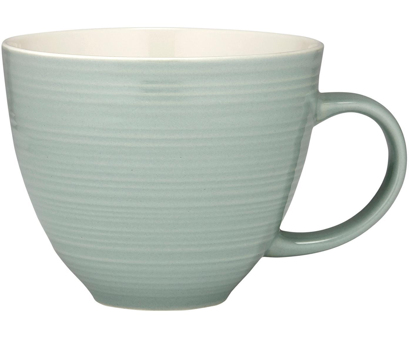 Tazas de café Darby, 4 piezas, Porcelana New Bone, Verde, blanco crudo, Ø 24 x Al 11 cm