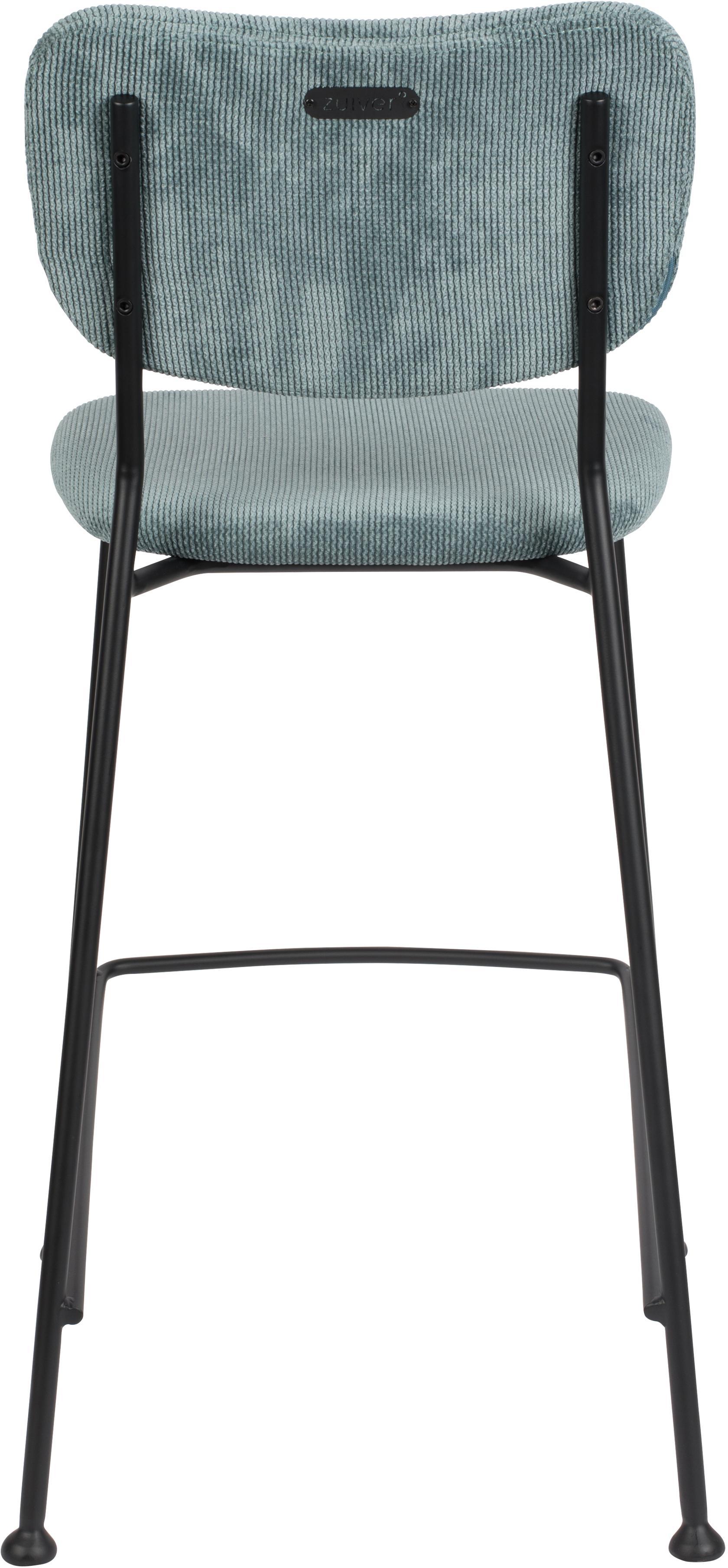 Cord-Thekenstuhl Beson, Gestell: Metall, pulverbeschichtet, Graublau, 46 x 92 cm