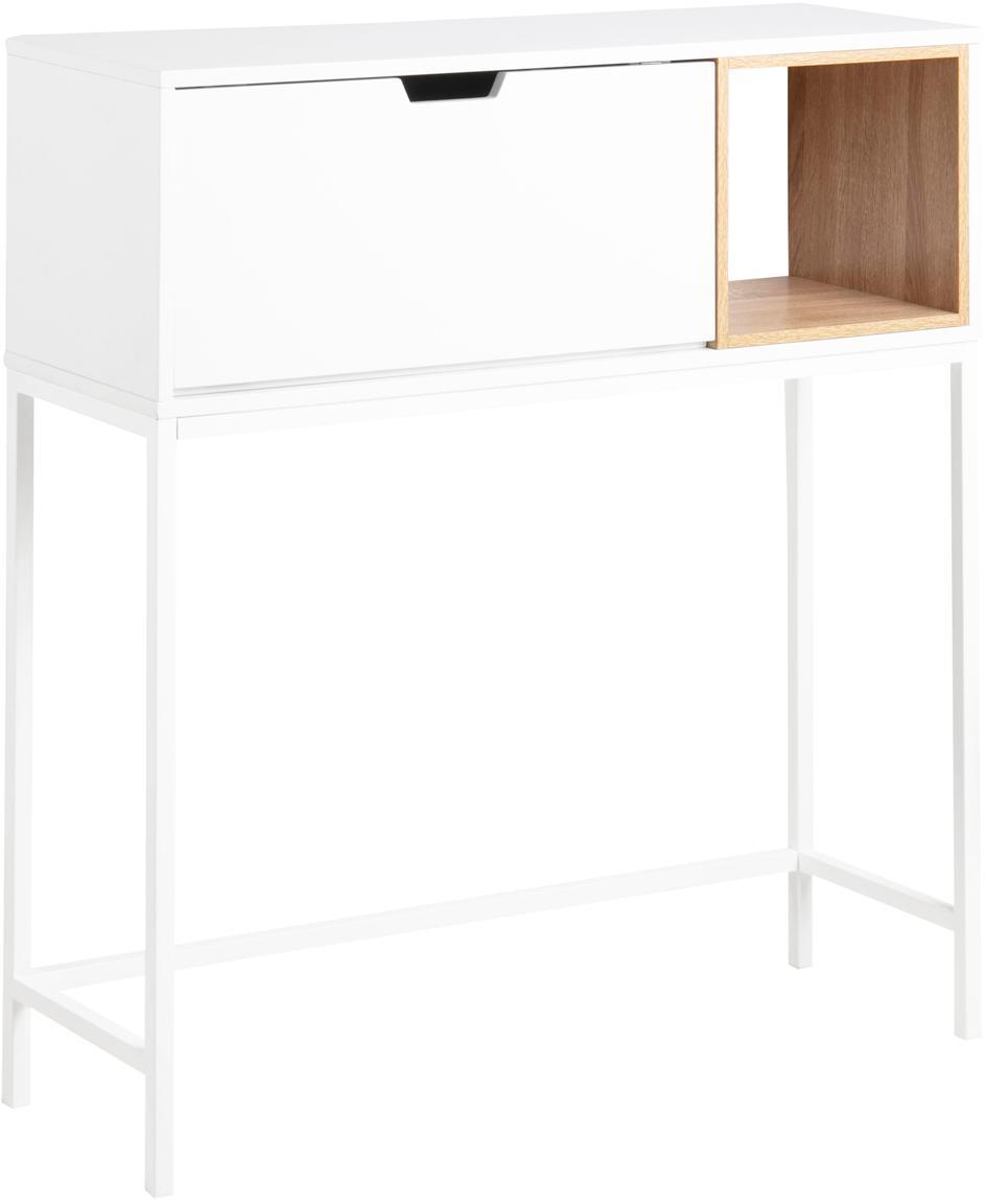 Consolle bianca con scomparto Satley, Struttura: metallo verniciato a polv, Bianco, legno di quercia, Larg. 92 x Prof. 30 cm