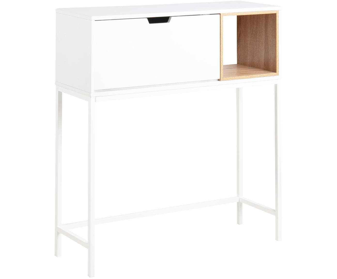 Secretaria Satley, Estructura: tablero de fibras de dens, Estructura: metal con pintura en polv, Blanco, roble, An 92 x F 30 cm