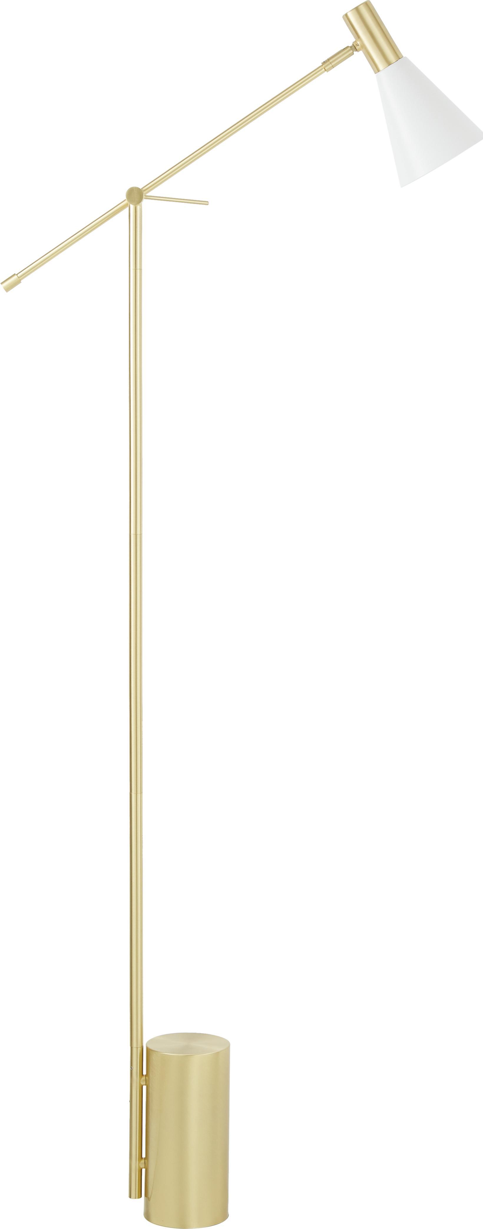 Stehlampe Sia, Lampenschirm: Metall, pulverbeschichtet, Lampenfuß: Metall, vermessingt, Weiß, Messingfarben, Ø 14 x H 162 cm