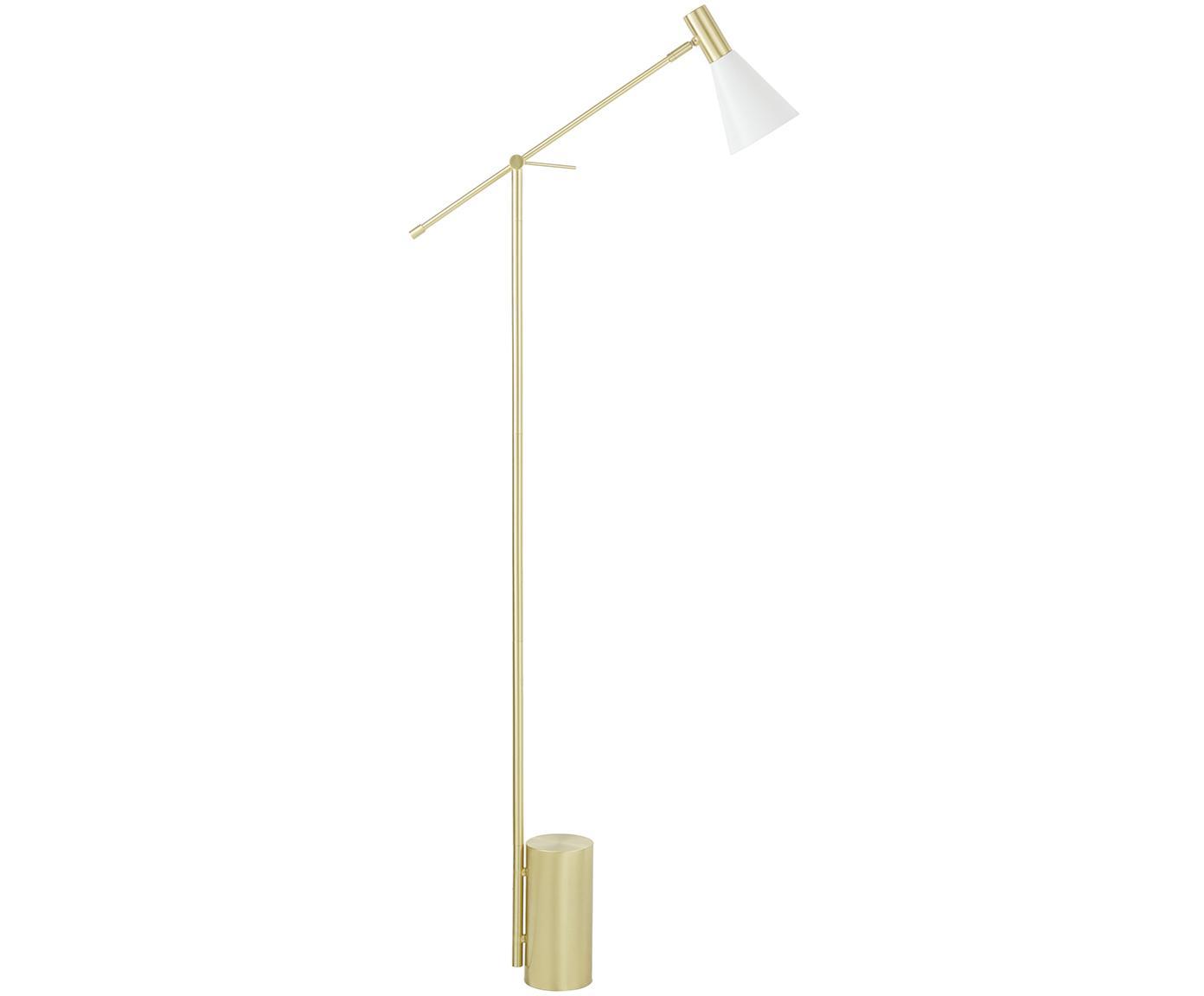 Stehlampe Sia, Lampenschirm: Metall, pulverbeschichtet, Weiss, Messingfarben, Ø 14 x H 162 cm