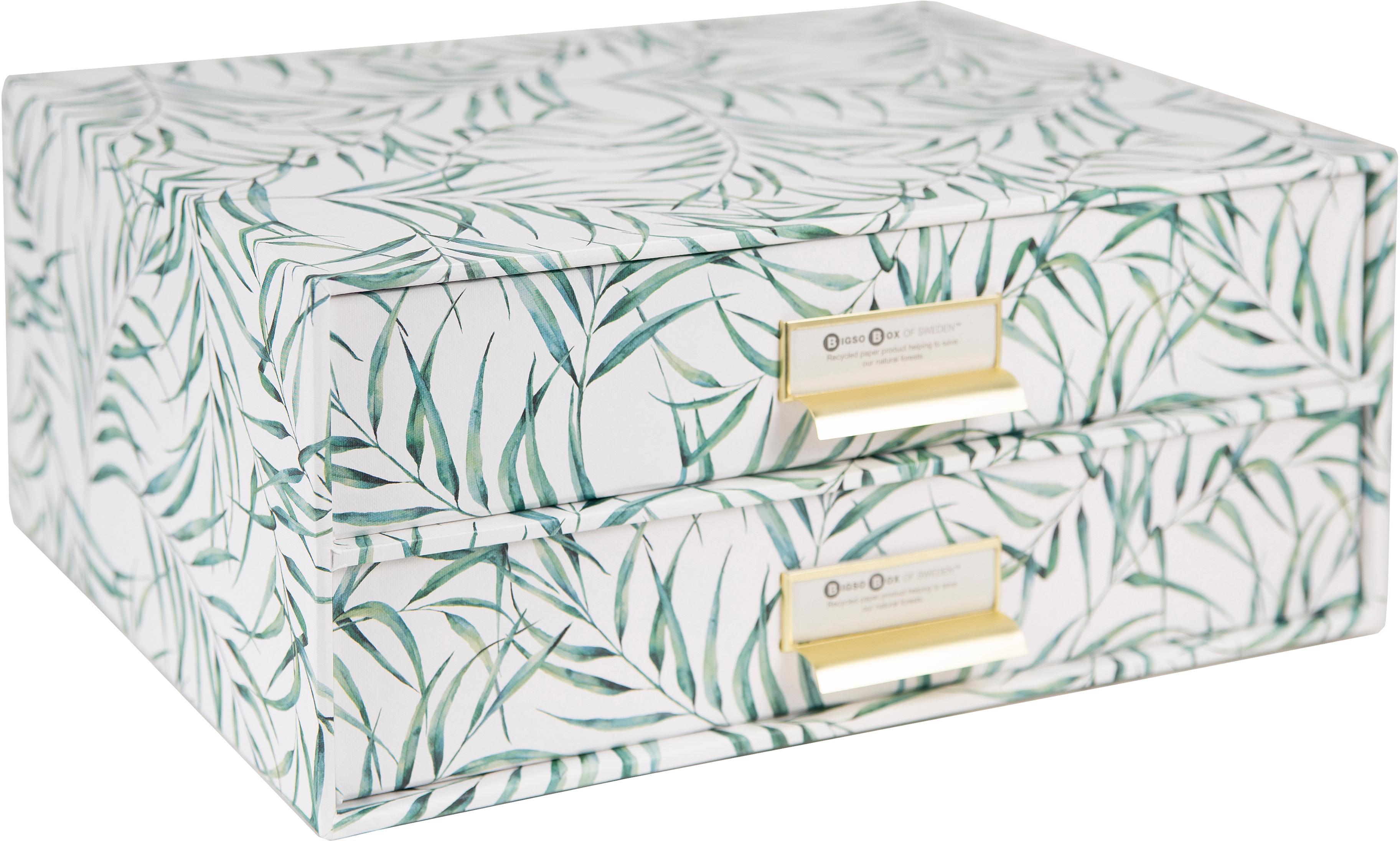 Bureau organizer Leaf, Organizer: stevig, gelamineerd karto, Wit, groen, 33 x 15 cm