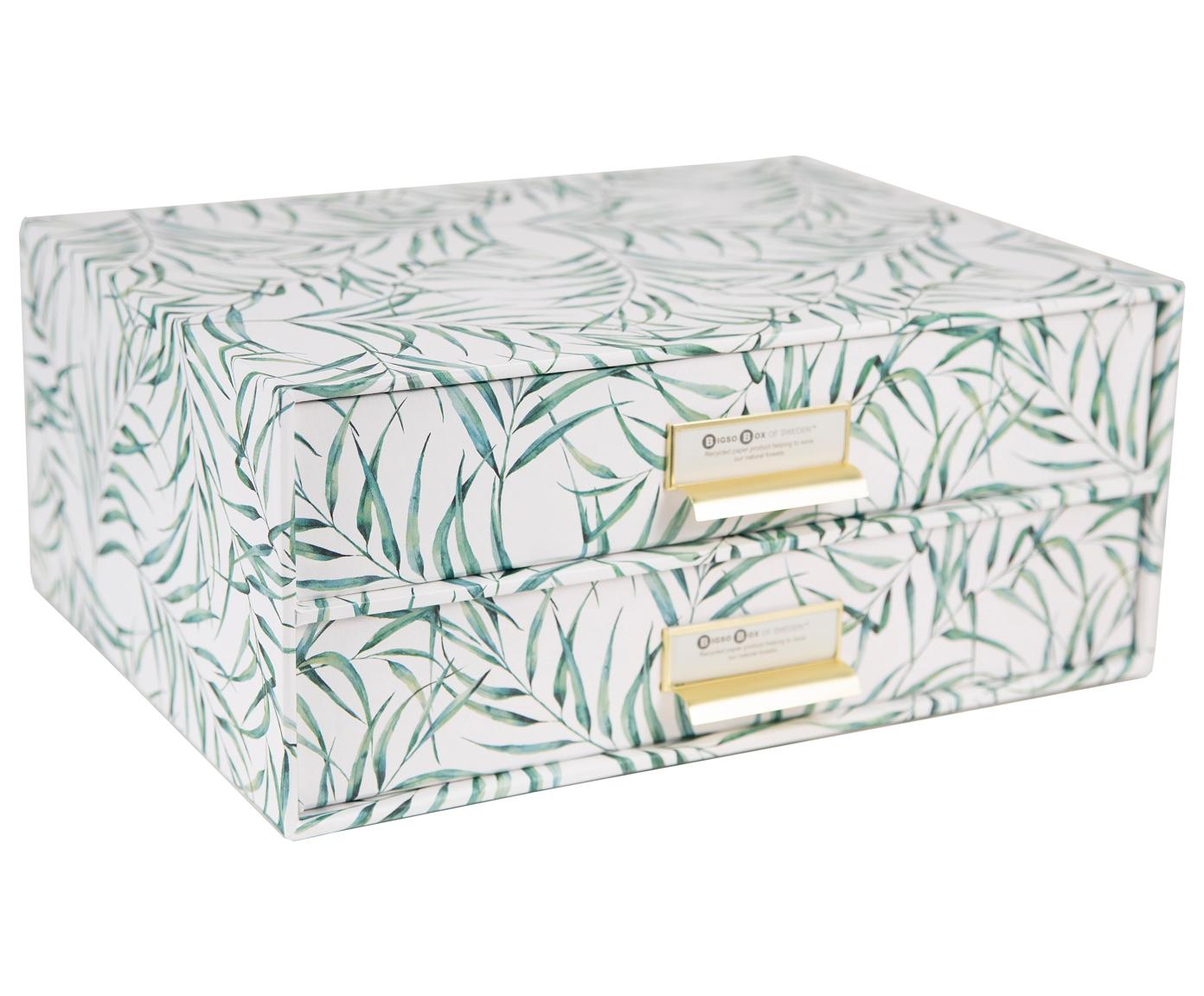 Organizador de escritorio Leaf, Caja: cartón laminado, Asa: metal, Blanco, verde, An 33 x Al 15 cm
