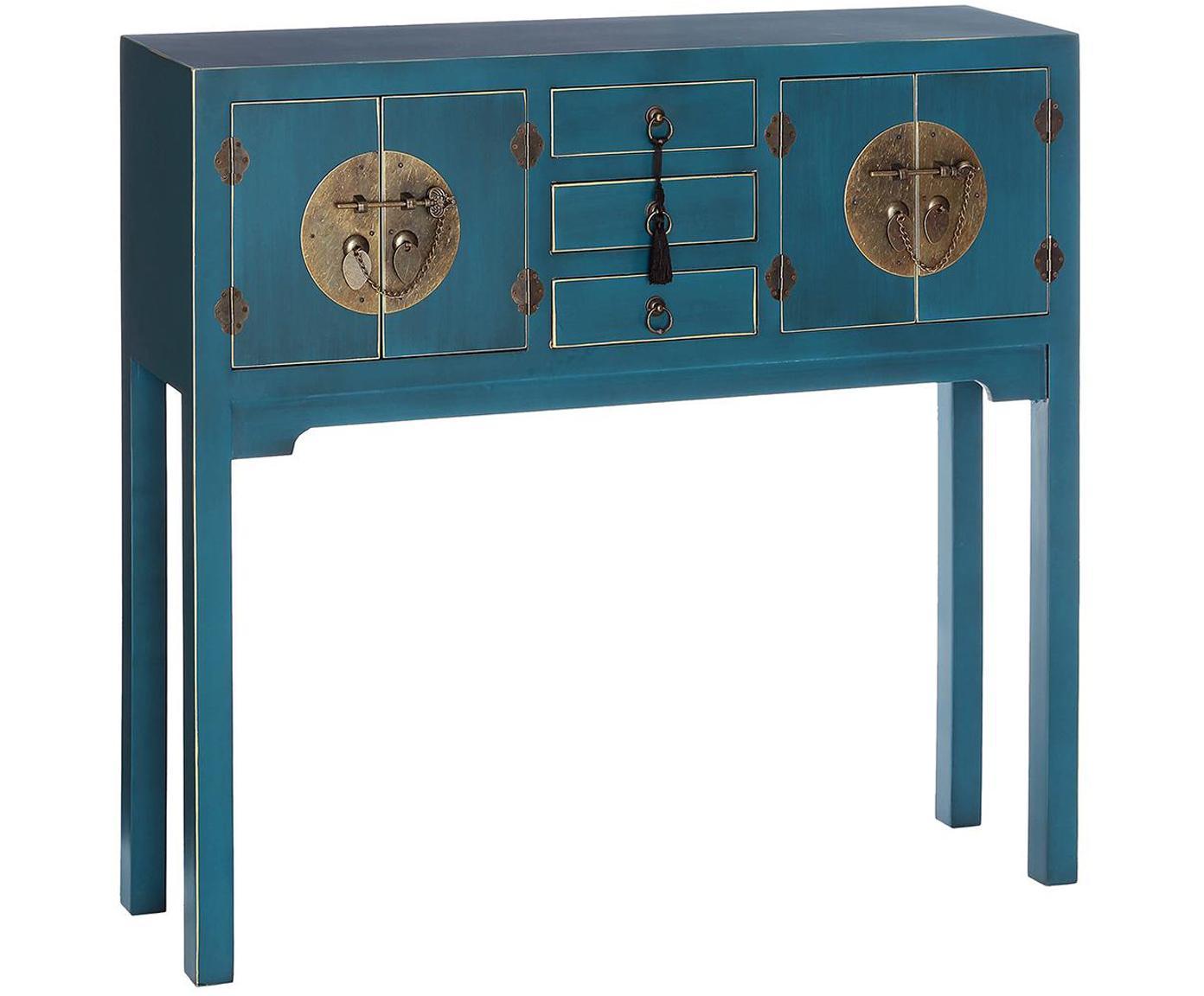 Consola Barbados, Madera, pintada, Azul, dorado, An 95 x Al 90 cm