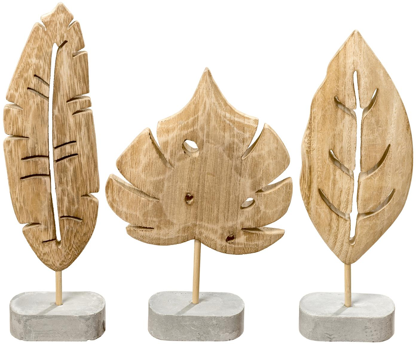 Komplet dekoracji Blatt, 3 elem., Podstawa: szary<br>Dekoracja: drewno paulownia, Różne rozmiary