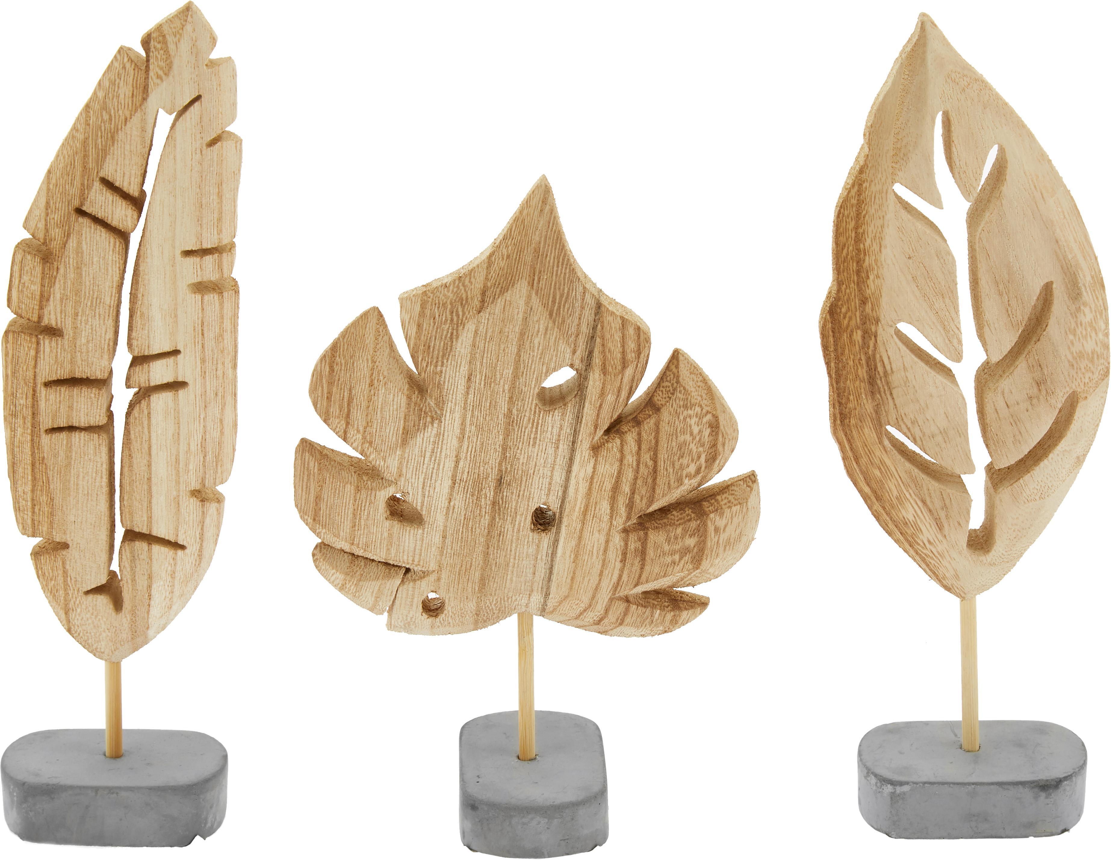 Decoratieve objectenset Blatt, 3-delig, Voetstuk: beton, Voetstuk: grijs. Decoratief object: paulowniahoutkleurig, Verschillende formaten