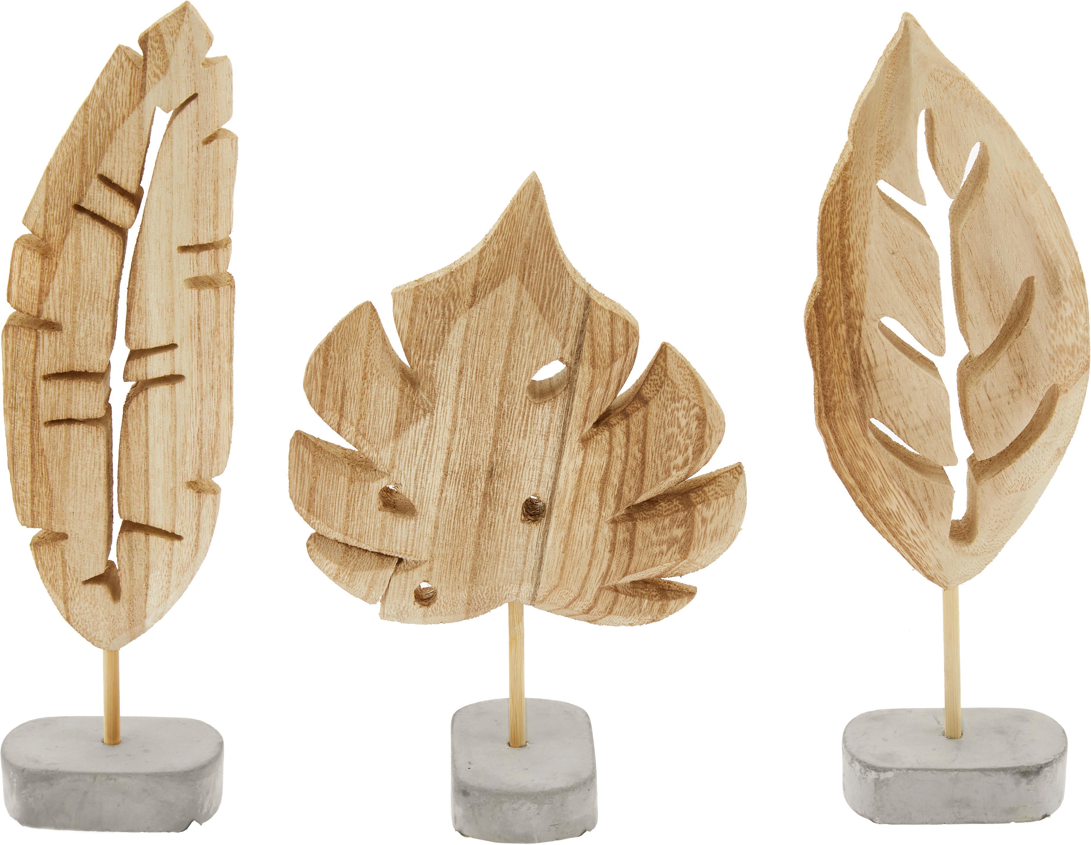 Set de figuras decorativas Blatt, 3pzas., Figura: madera de Paulownia, Base: gris Figura: madera de Paulownia, Tamaños diferentes