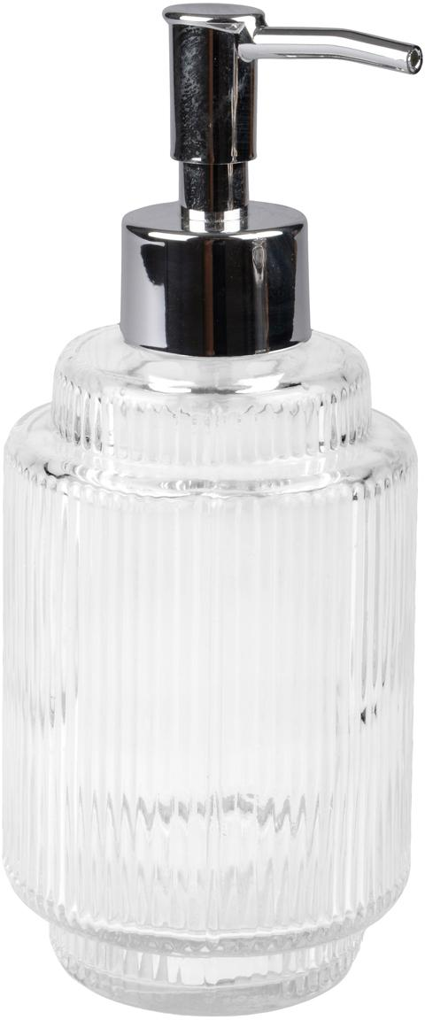 Dispenser sapone in vetro scanalato Ligia, Vetro, Trasparente, argentato, Ø 8 x Alt. 19 cm