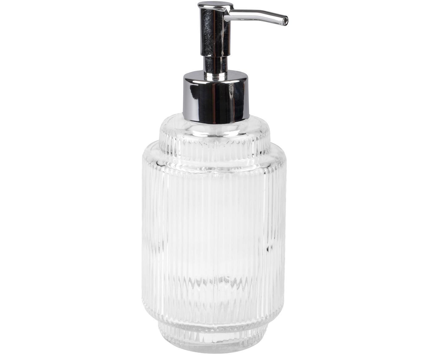 Zeepdispenser Ligia van geribbeld glas, Glas, Transparant, zilverkleurig, Ø 8 cm