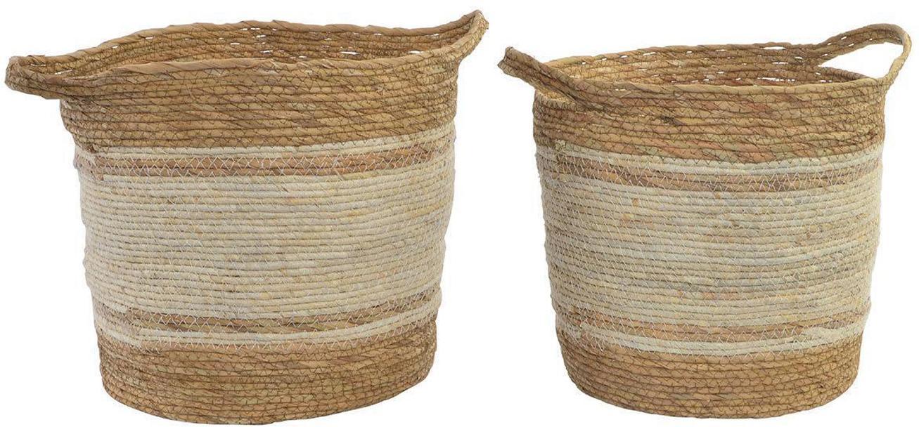 Set de cestas Bibi, 2pzas., FIbra natural, Marrón, Set de diferentes tamaños
