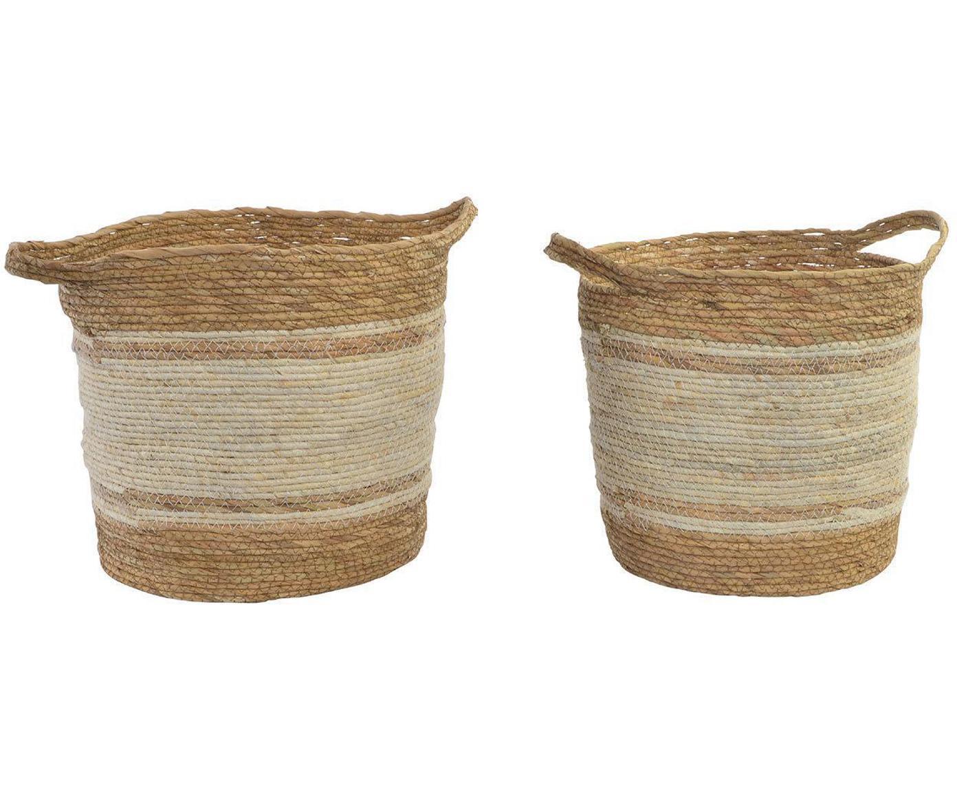 Set de cestas Bibi, 2pzas., FIbra natural, Marrón, Tamaños diferentes