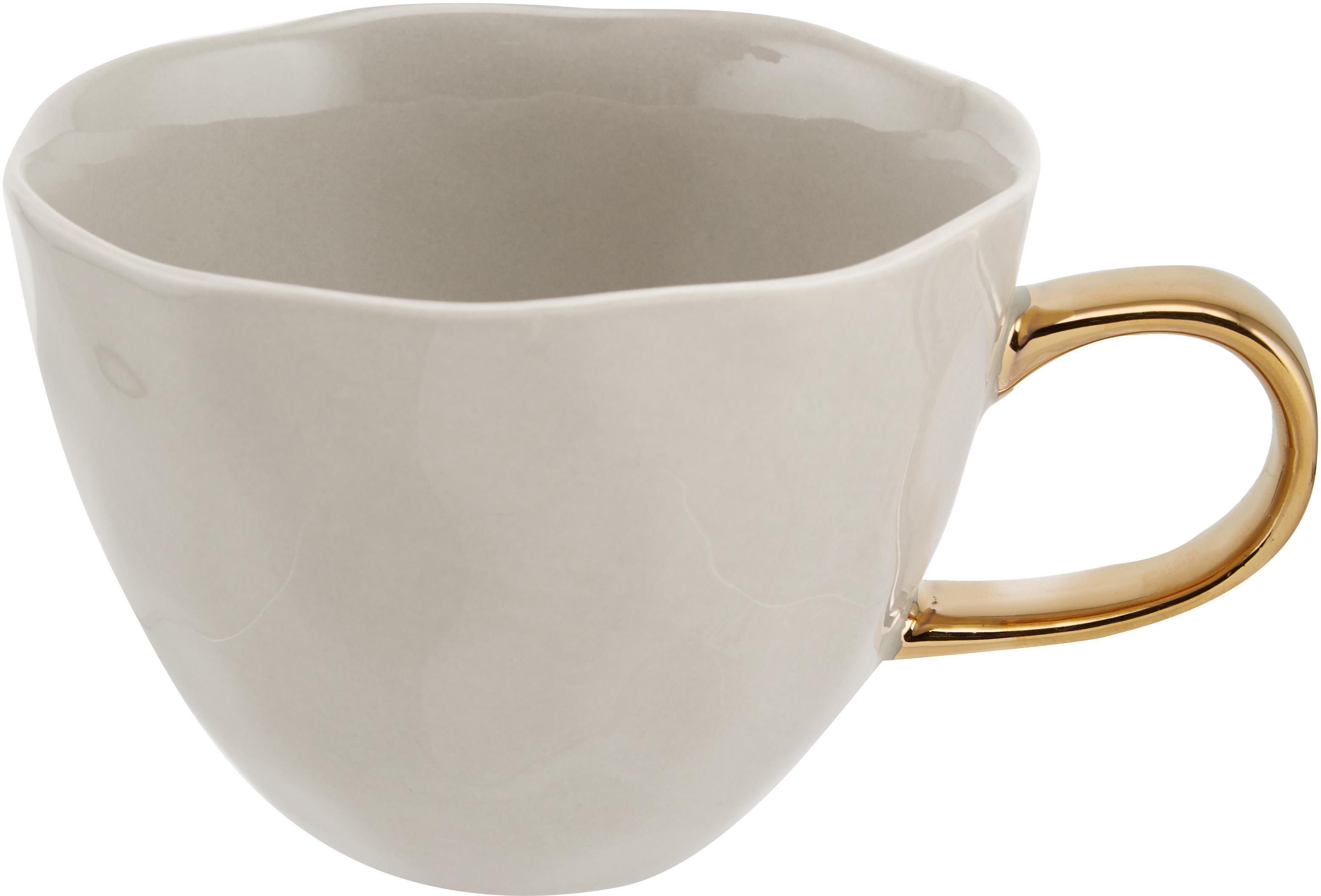 Tazza con manico dorato Good Morning, Terracotta, Grigio, dorato, Ø 11 x Alt. 8 cm
