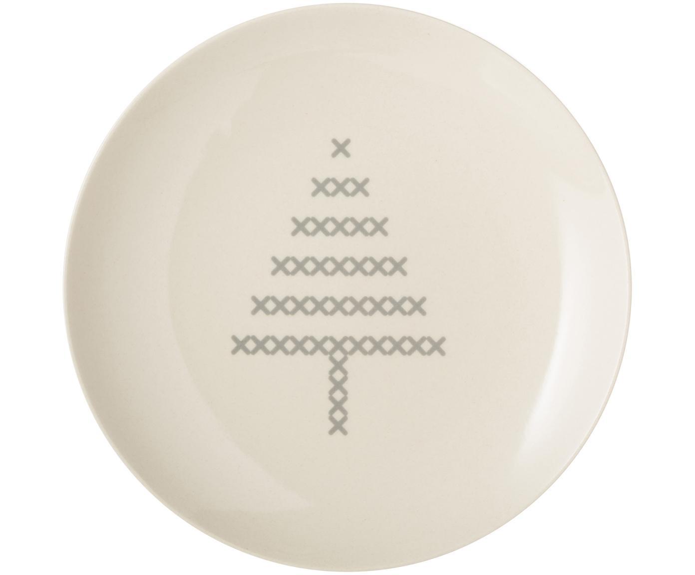 Talerz Cross, Ceramika, Złamana biel, szary, Ø 16 cm