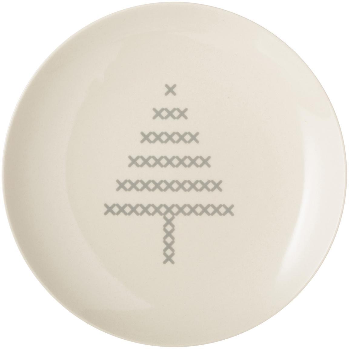 Brotteller Cross mit Weihnachts-Motiv, Keramik, Gebrochenes Weiss, Grau, Ø 16 cm